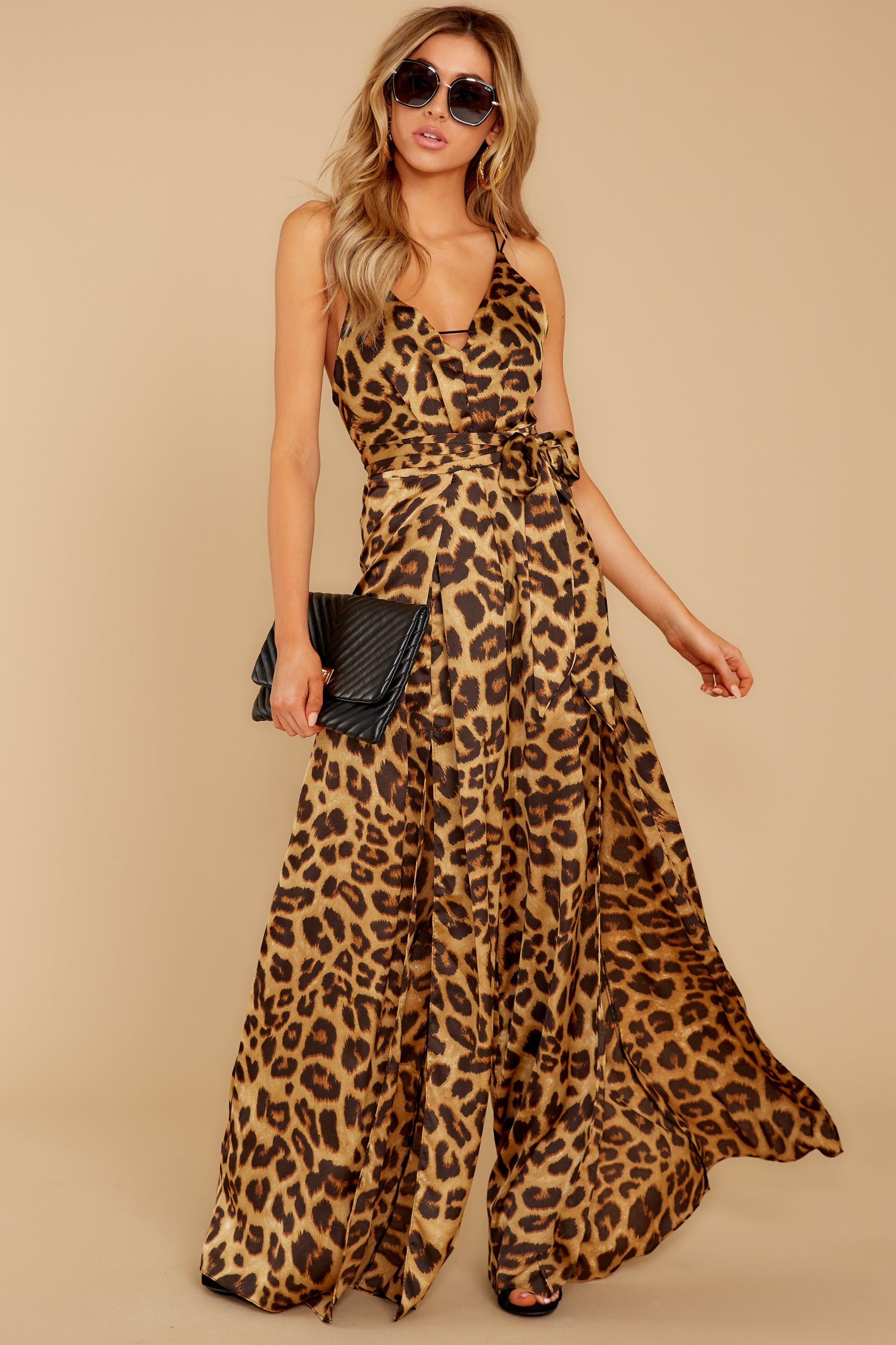 70s Jumpsuit | Disco Jumpsuits, Sequin Rompers Shes Dangerous Leopard Print Jumpsuit Brown $32.00 AT vintagedancer.com