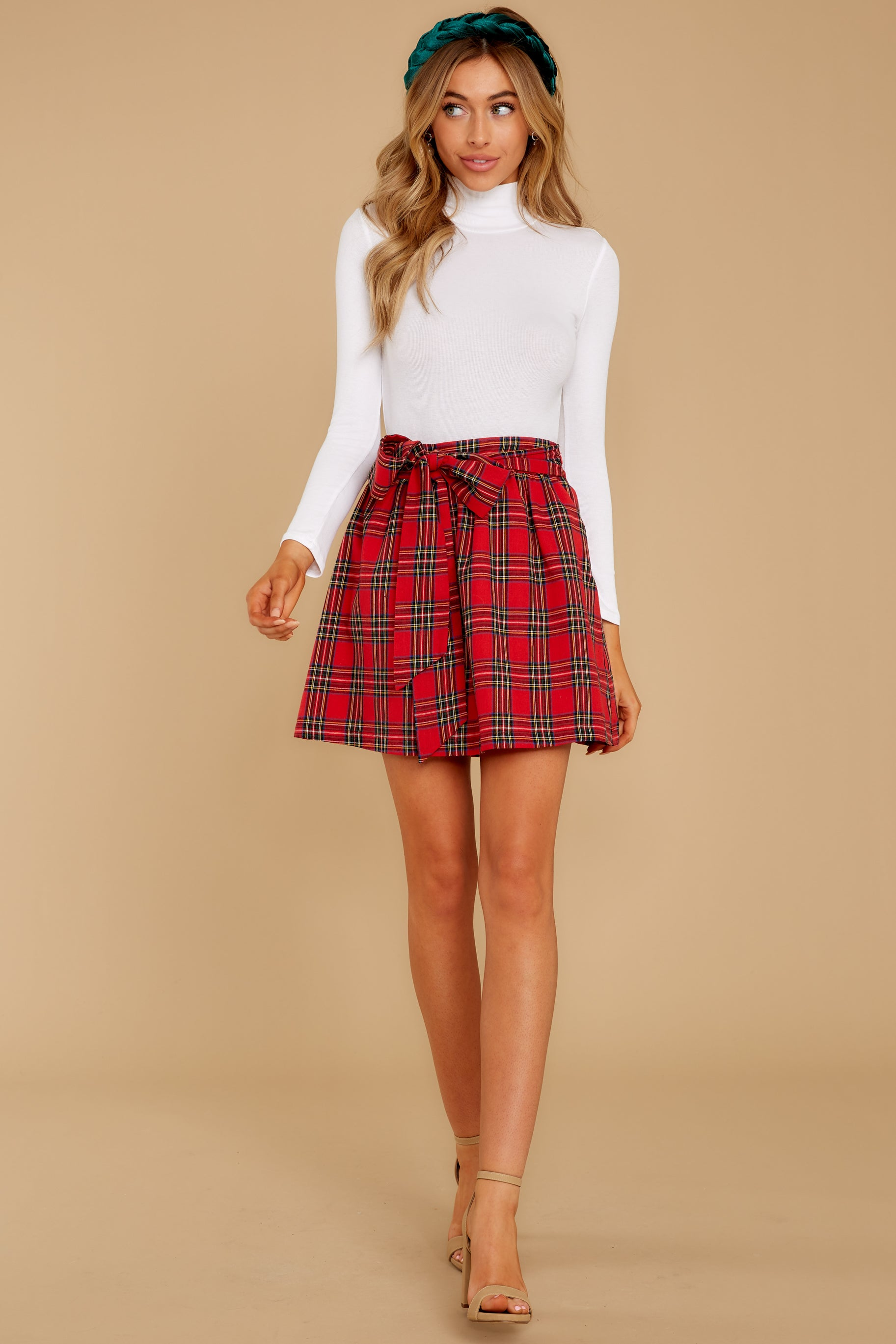 6 Tied With A Bow Red Plaid Skirt at reddress.com