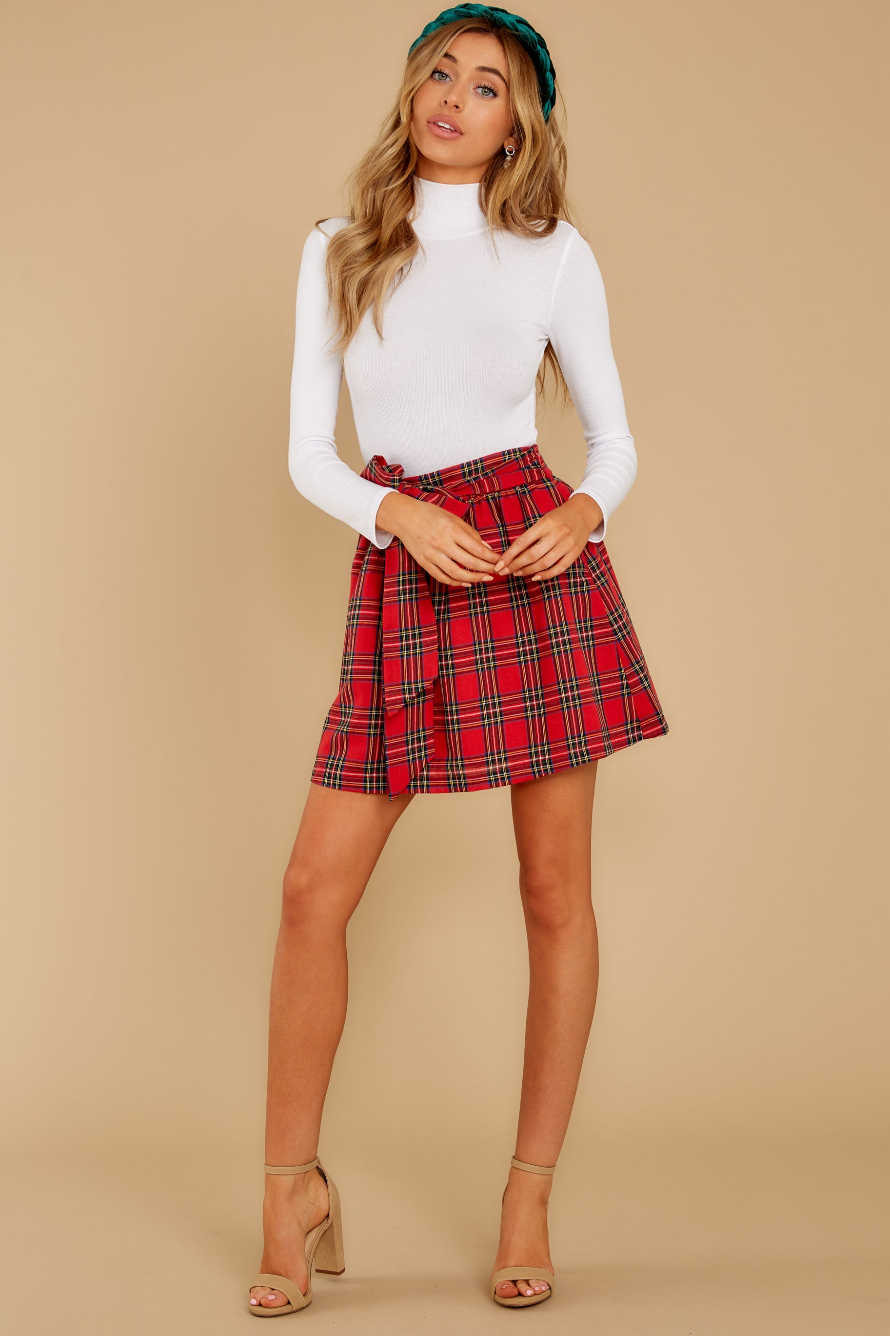 7 Tied With A Bow Red Plaid Skirt at reddress.com