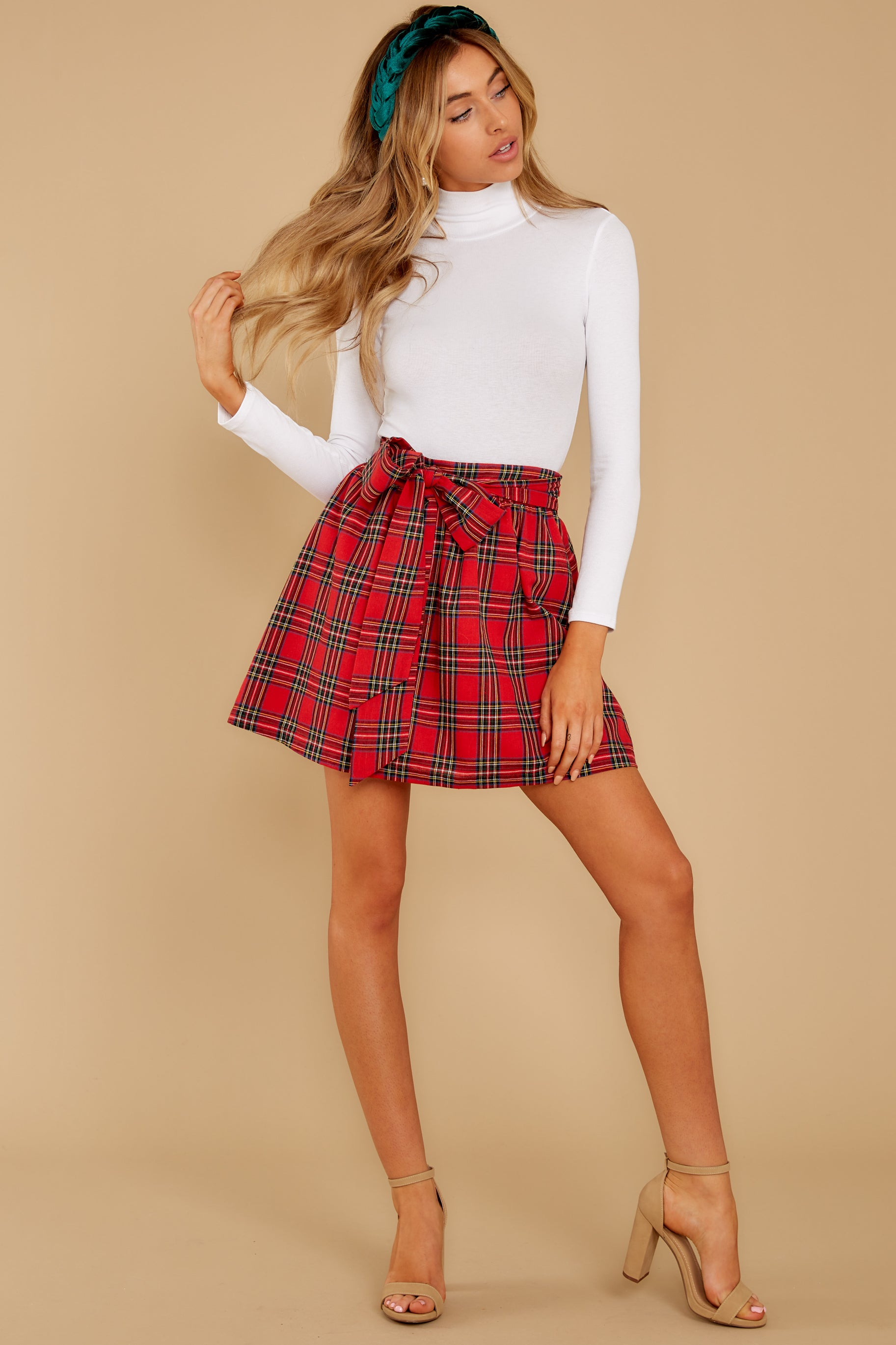 5 Tied With A Bow Red Plaid Skirt at reddress.com
