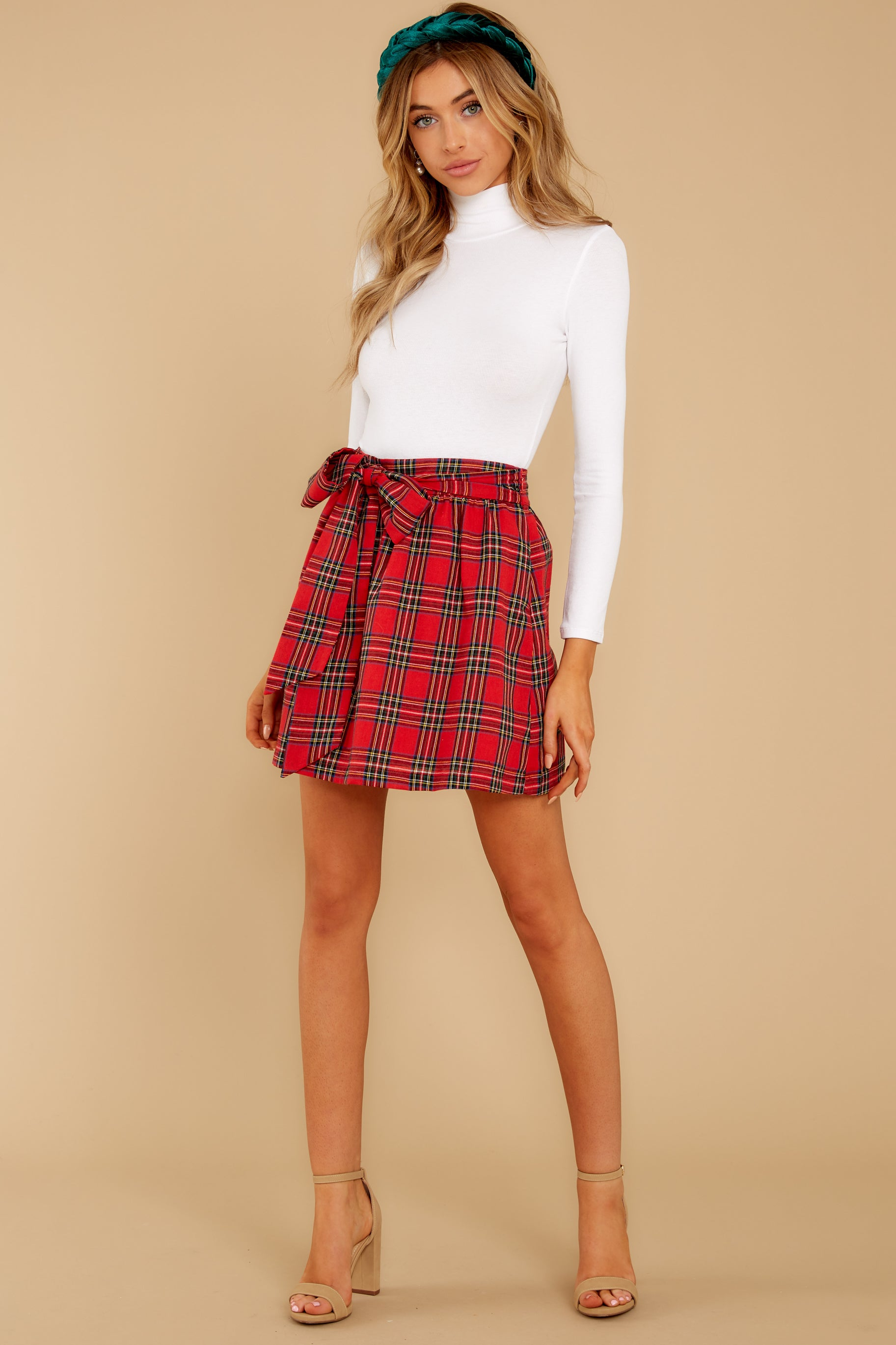 8 Tied With A Bow Red Plaid Skirt at reddress.com