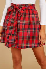 2 Tied With A Bow Red Plaid Skirt at reddress.com