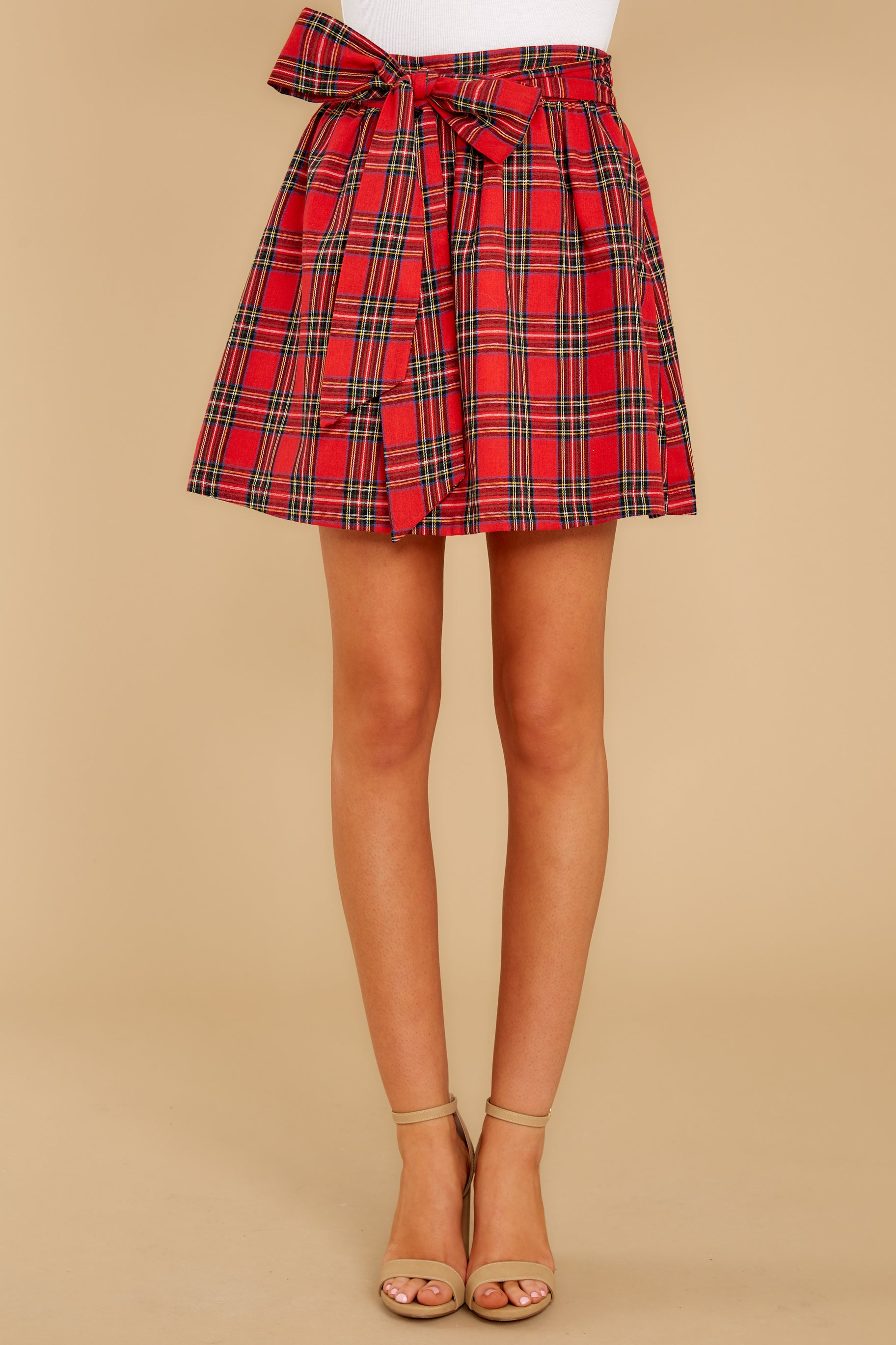 3 Tied With A Bow Red Plaid Skirt at reddress.com