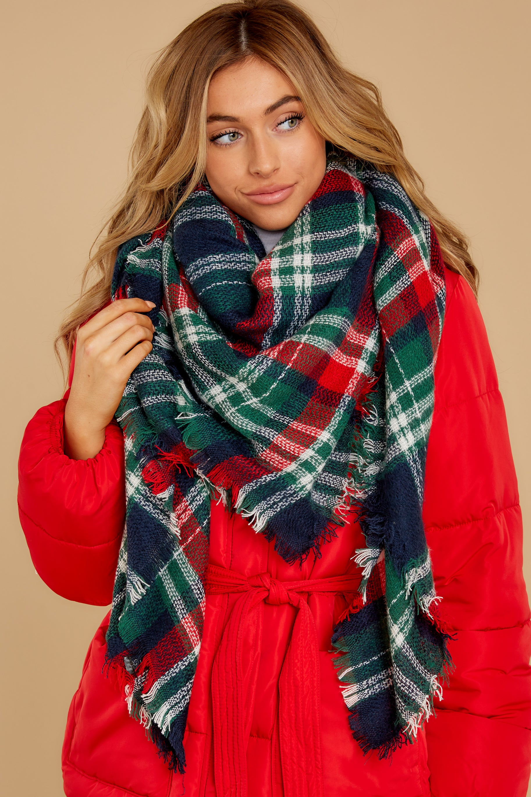 Chilled For The Day Navy Multi Plaid Scarf