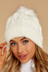 1 Chill Of The Night Cream Pom Beanie at reddressboutique.com