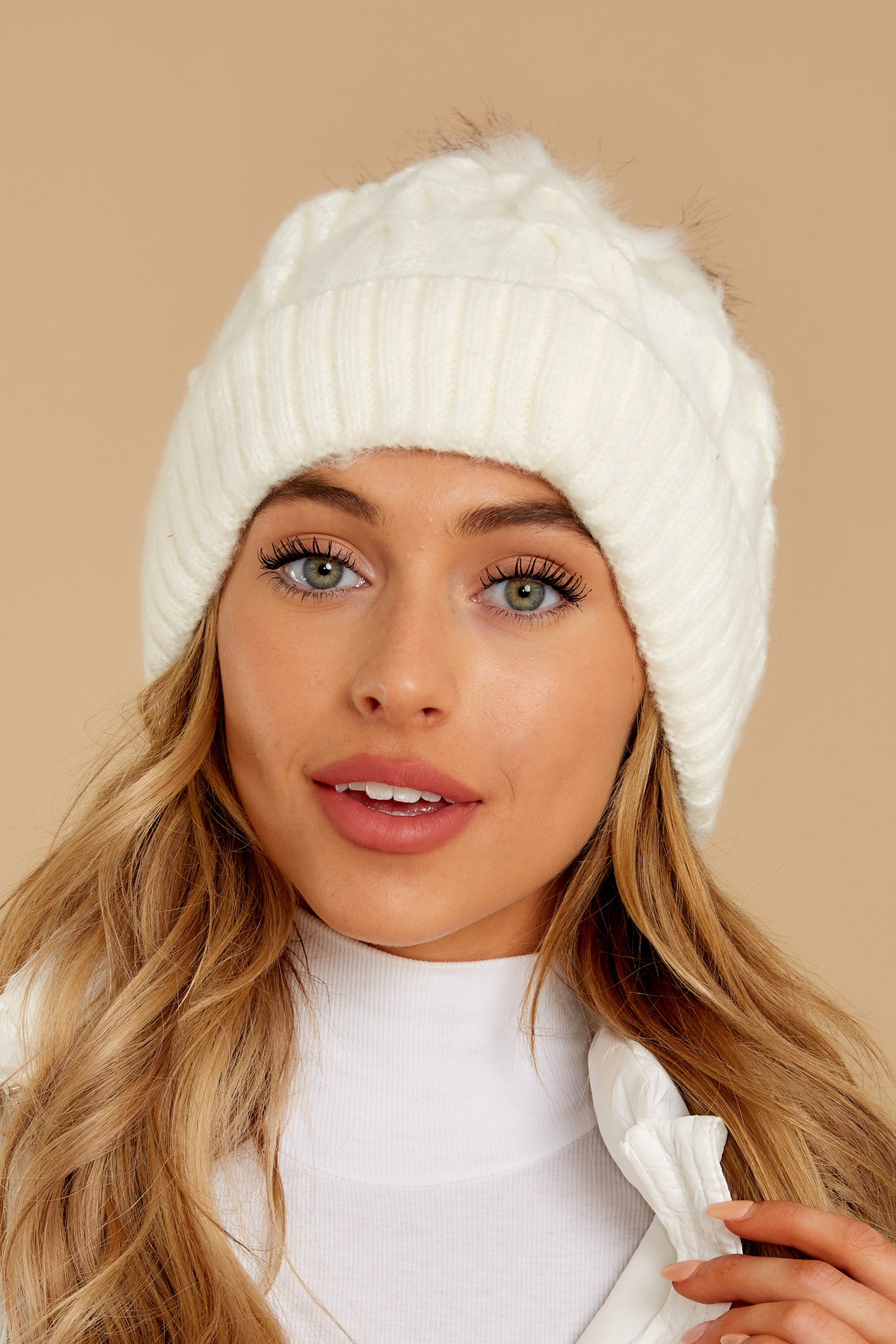 2 Chill Of The Night Cream Pom Beanie at reddressboutique.com