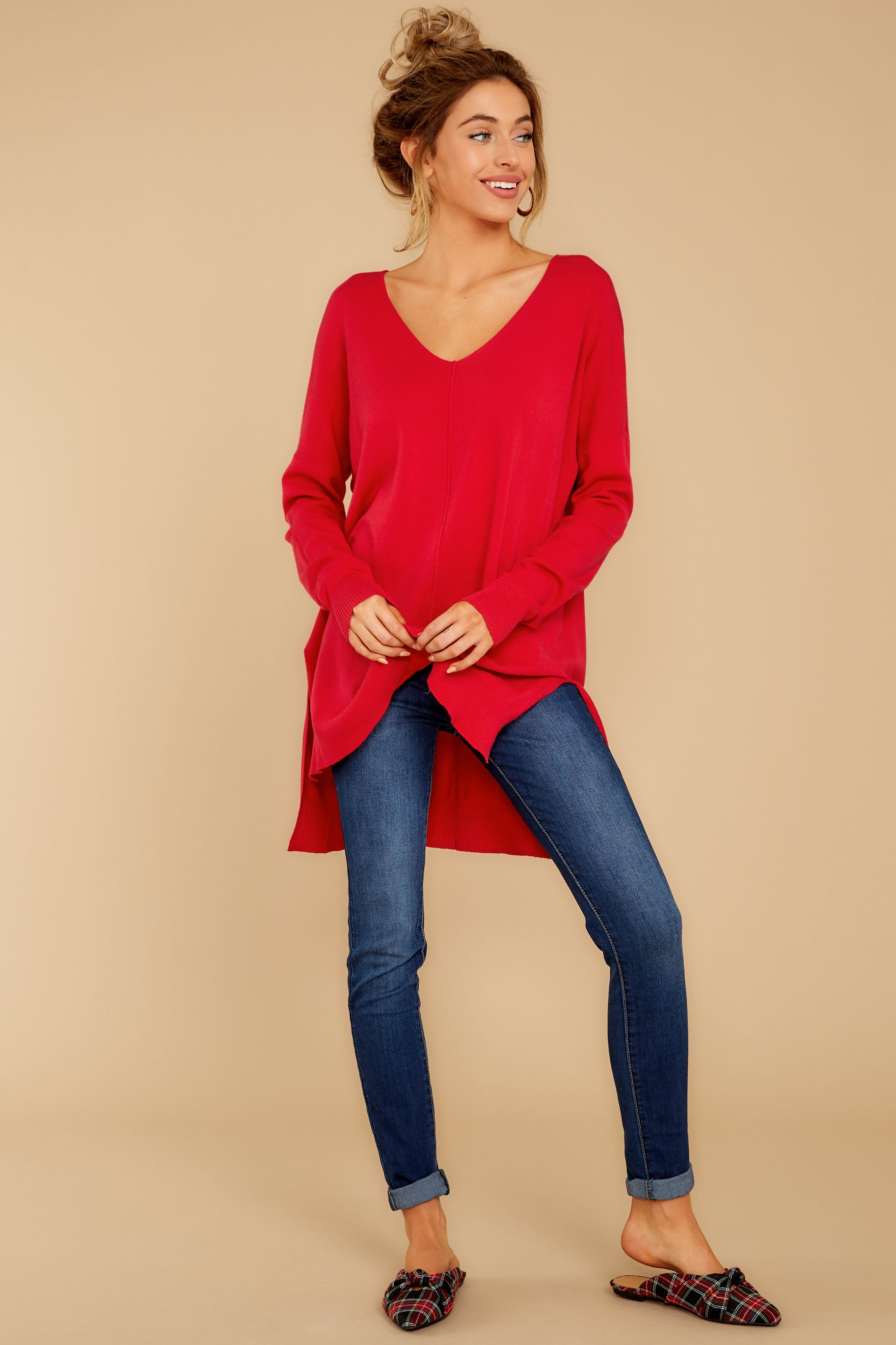 3 Can't Let Go Red Sweater at reddressboutique.com