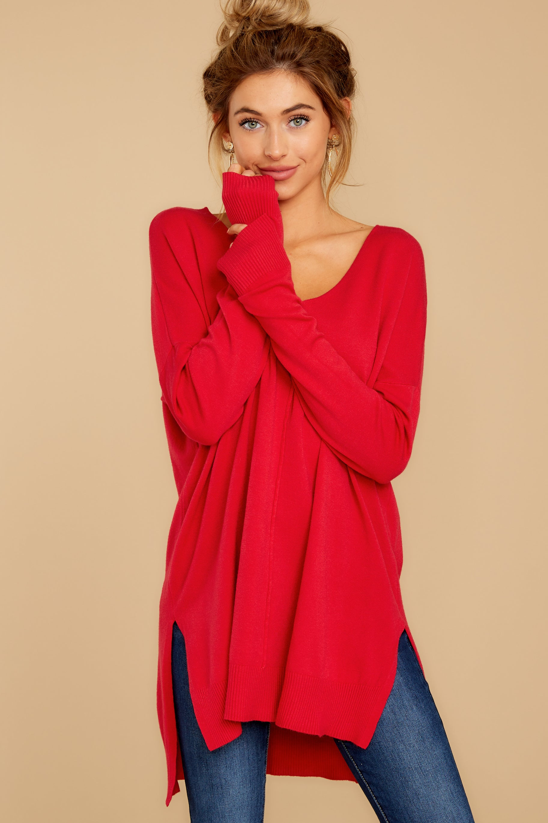 5 Can't Let Go Red Sweater at reddressboutique.com