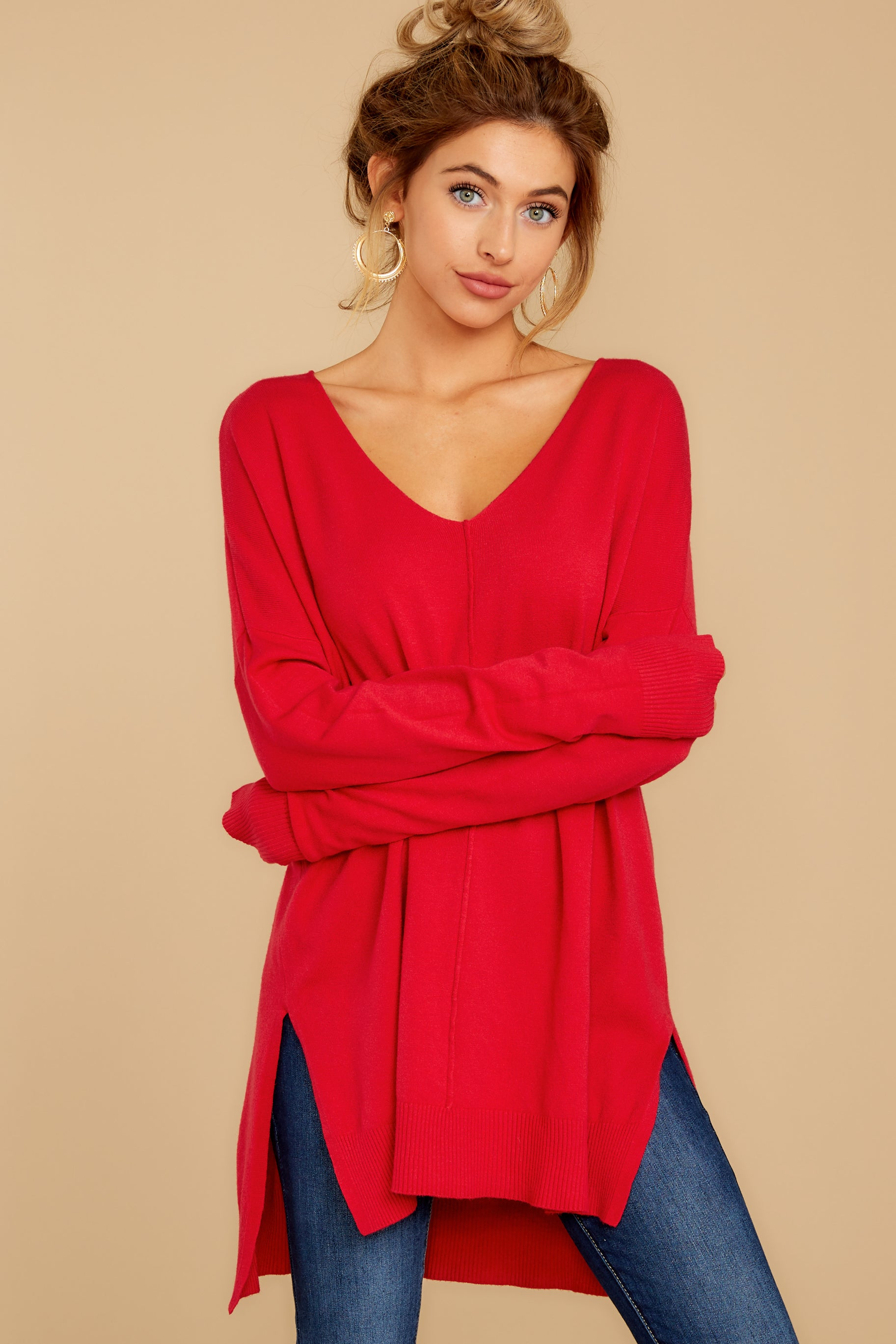 6 Can't Let Go Red Sweater at reddressboutique.com