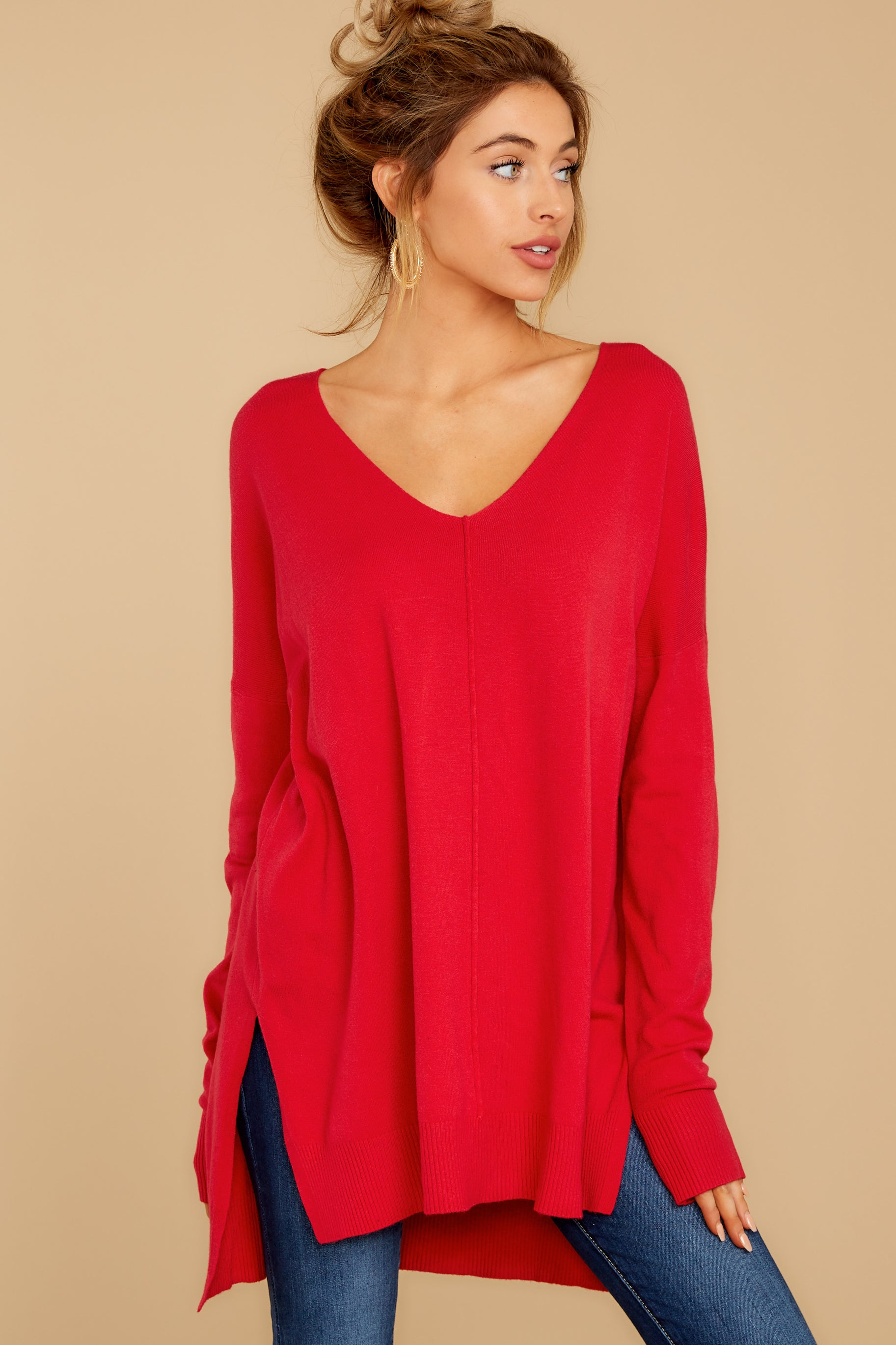 7 Can't Let Go Red Sweater at reddressboutique.com