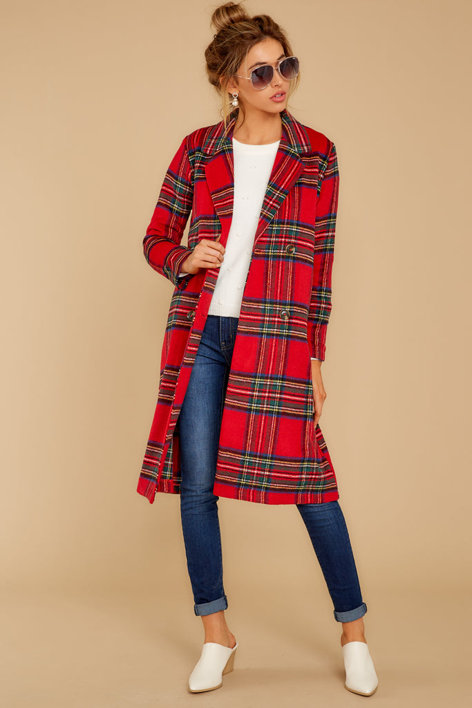 1 Make My Holiday Red Plaid Coat at reddressboutique.com