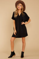 V-neck Flowy Polyester Dolman Short Sleeves Sleeves Shirt Dress