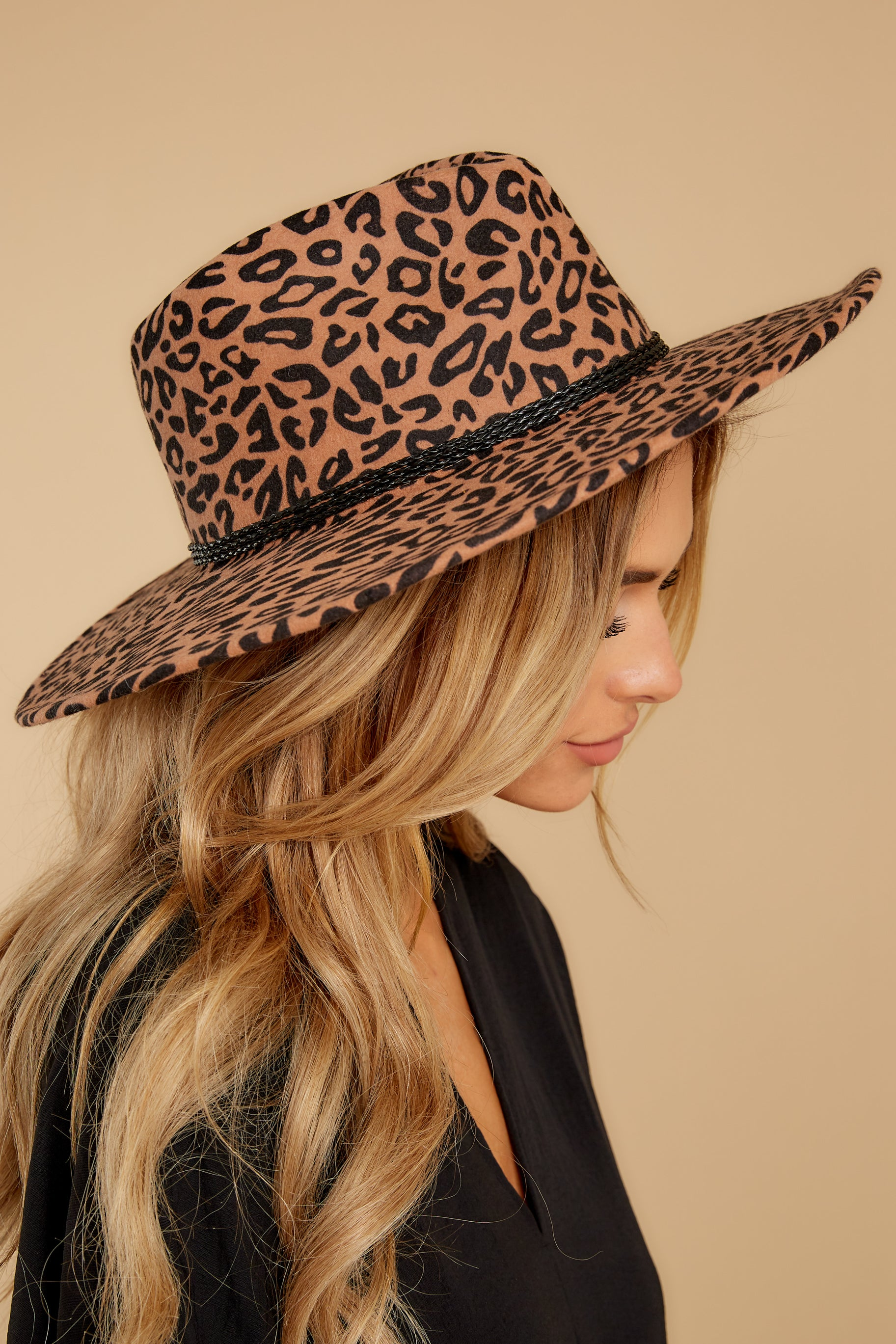80s Hats, Caps, Visors, Buckets | Women and Men Wild Adventure Leopard Hat Brown $54.00 AT vintagedancer.com
