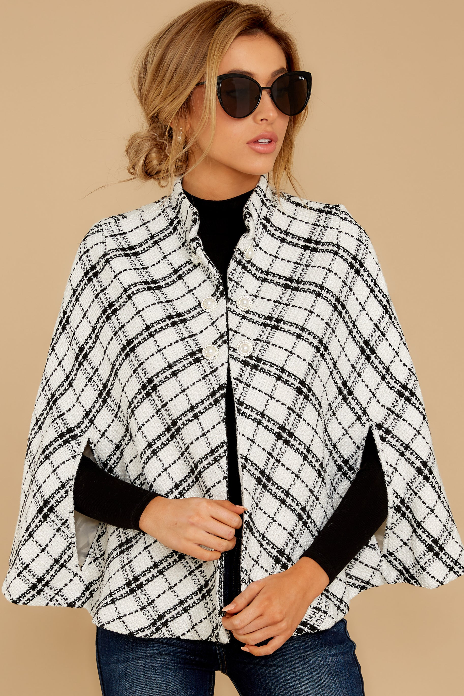 5 Pause For Effect White And Black Tweed Poncho Cape at reddressboutique.com
