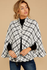 6 Pause For Effect White And Black Tweed Poncho Cape at reddressboutique.com