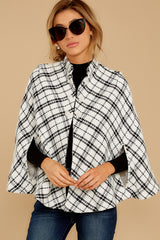 7 Pause For Effect White And Black Tweed Poncho Cape at reddressboutique.com