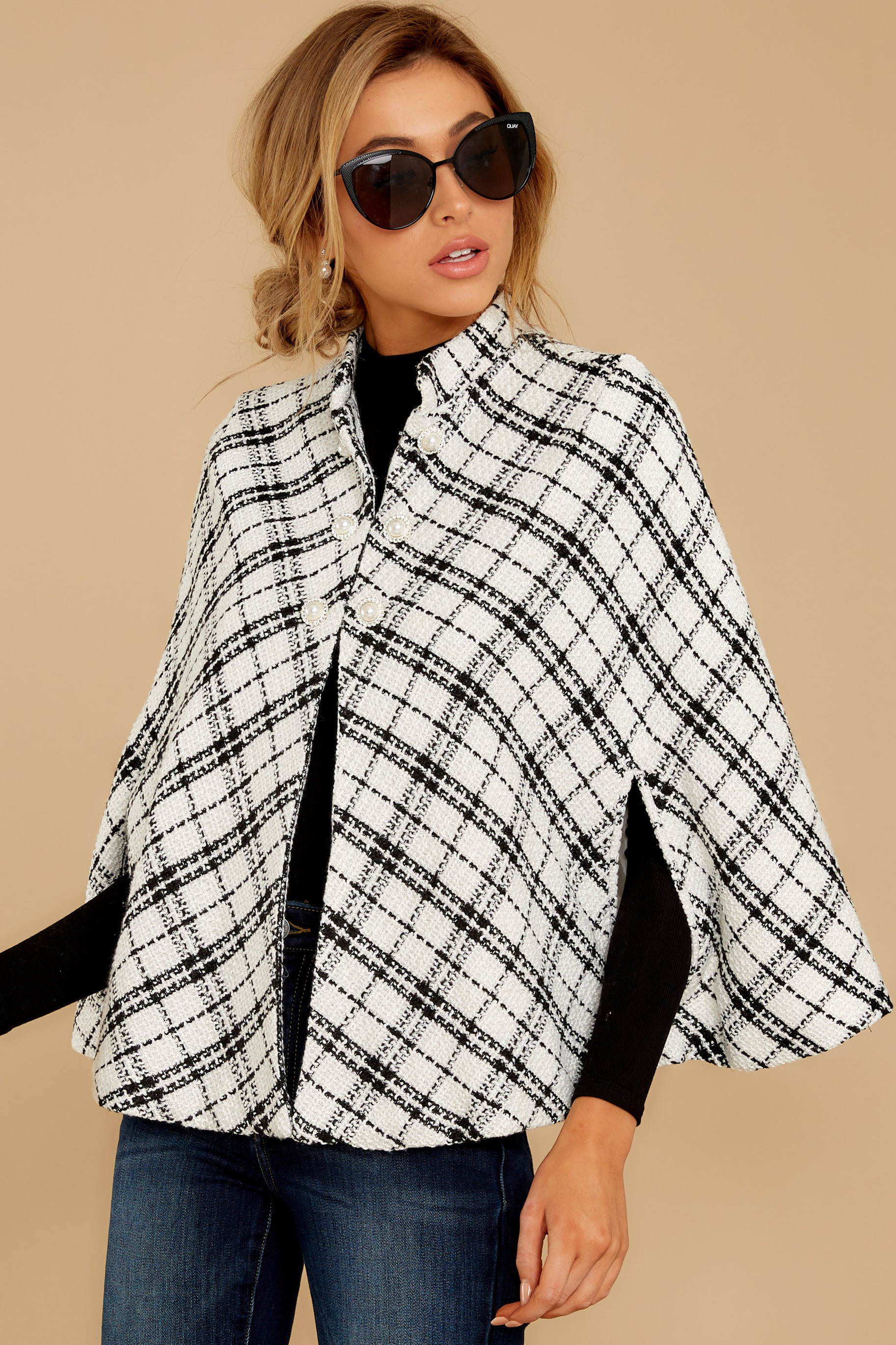 8 Pause For Effect White And Black Tweed Poncho Cape at reddressboutique.com