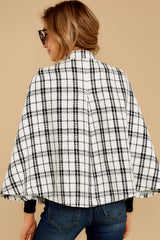 9 Pause For Effect White And Black Tweed Poncho Cape at reddressboutique.com