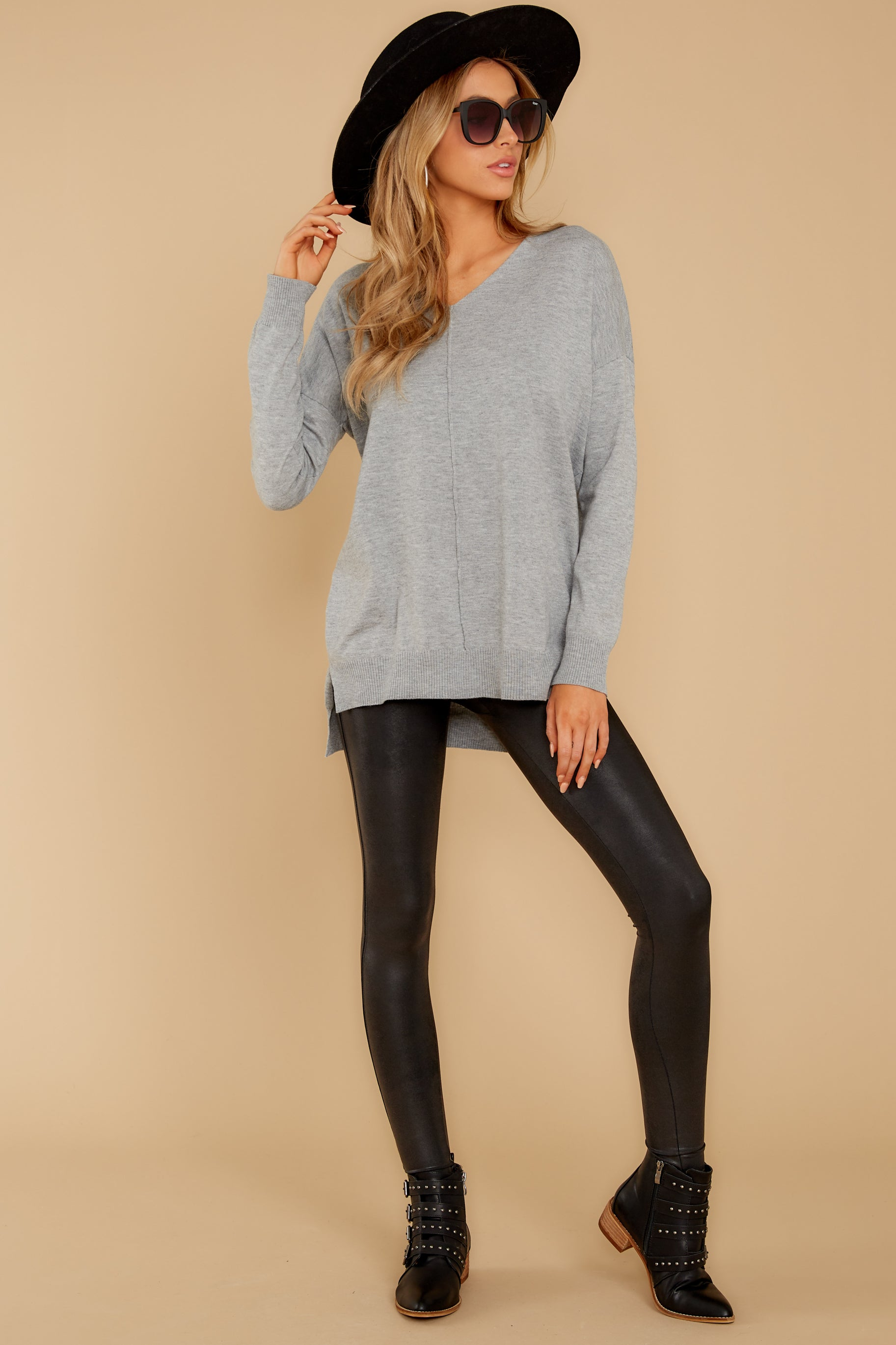 1 Keep Things Simple Heather Grey Sweater at reddressboutique.com