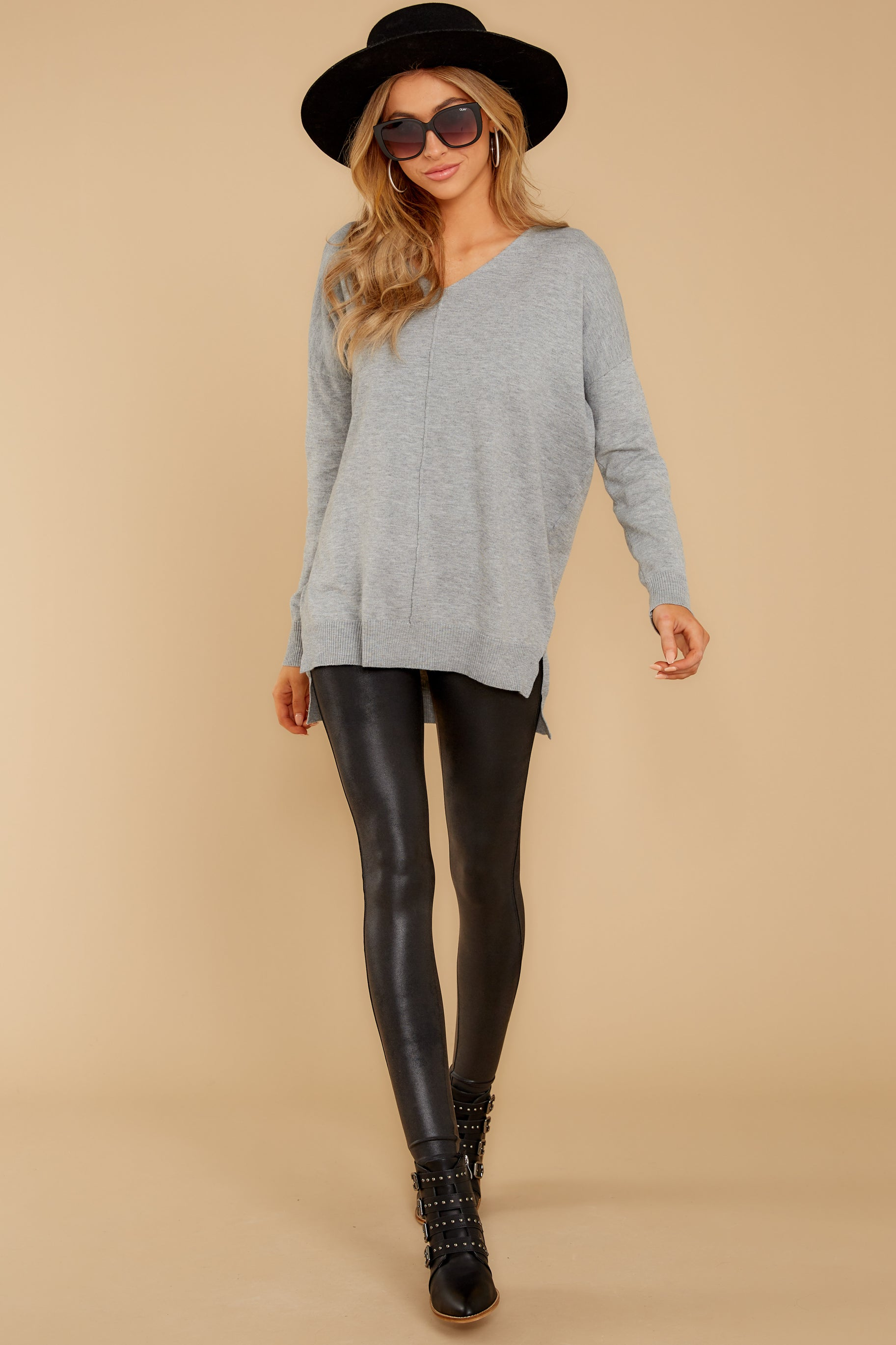 2 Keep Things Simple Heather Grey Sweater at reddressboutique.com