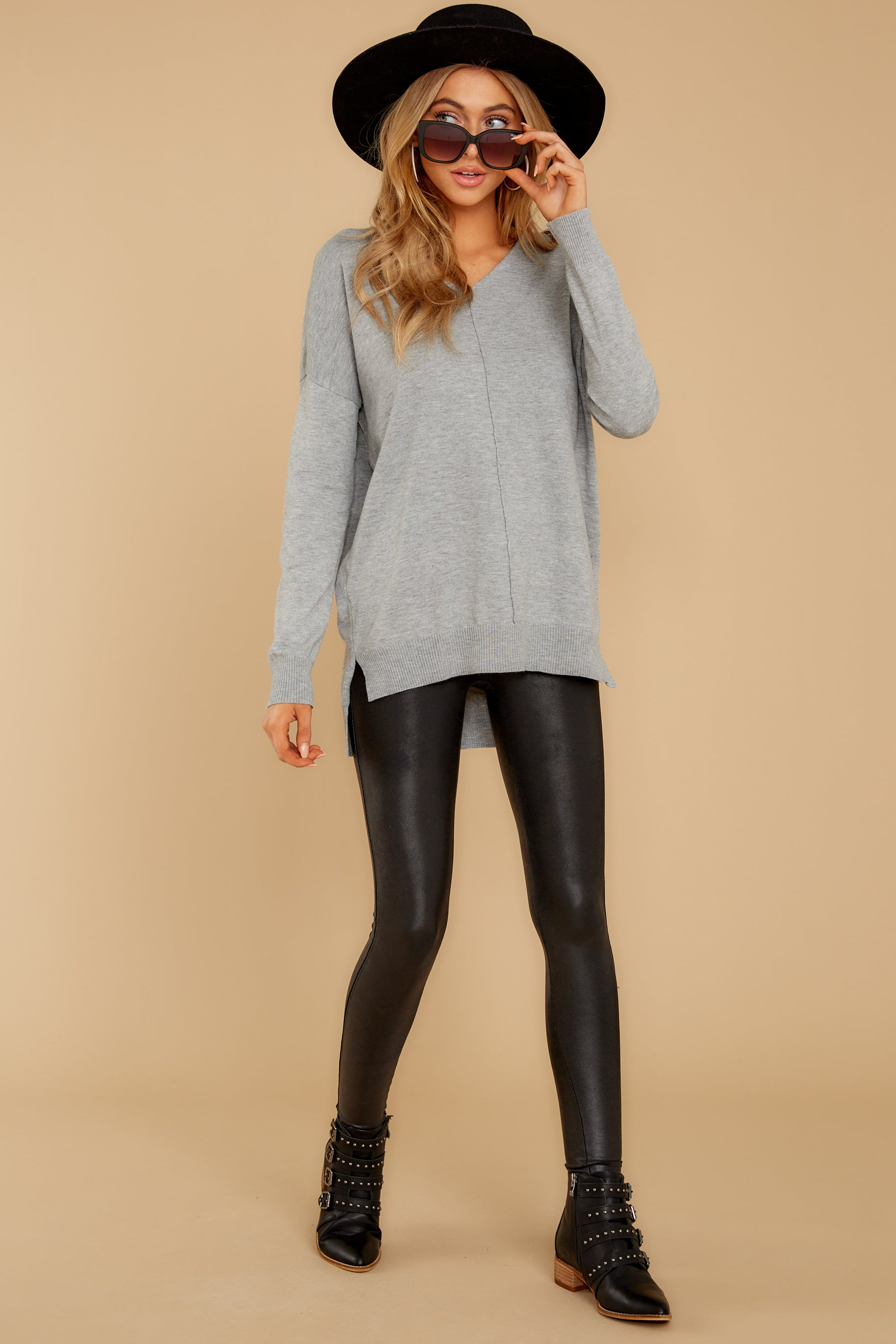 4 Keep Things Simple Heather Grey Sweater at reddressboutique.com