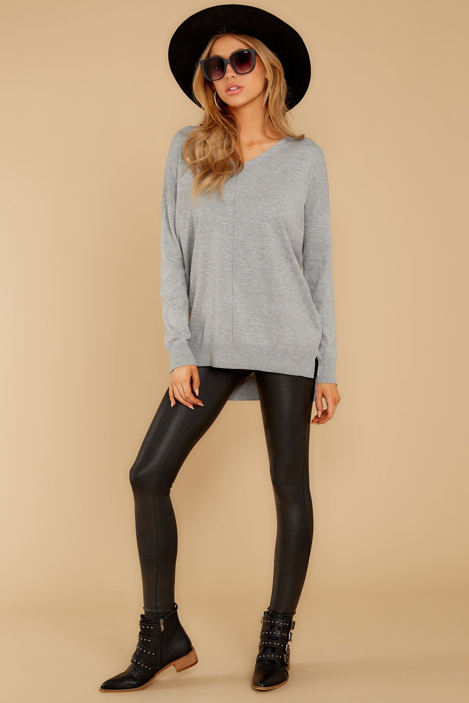 7 Keep Things Simple Heather Grey Sweater at reddressboutique.com