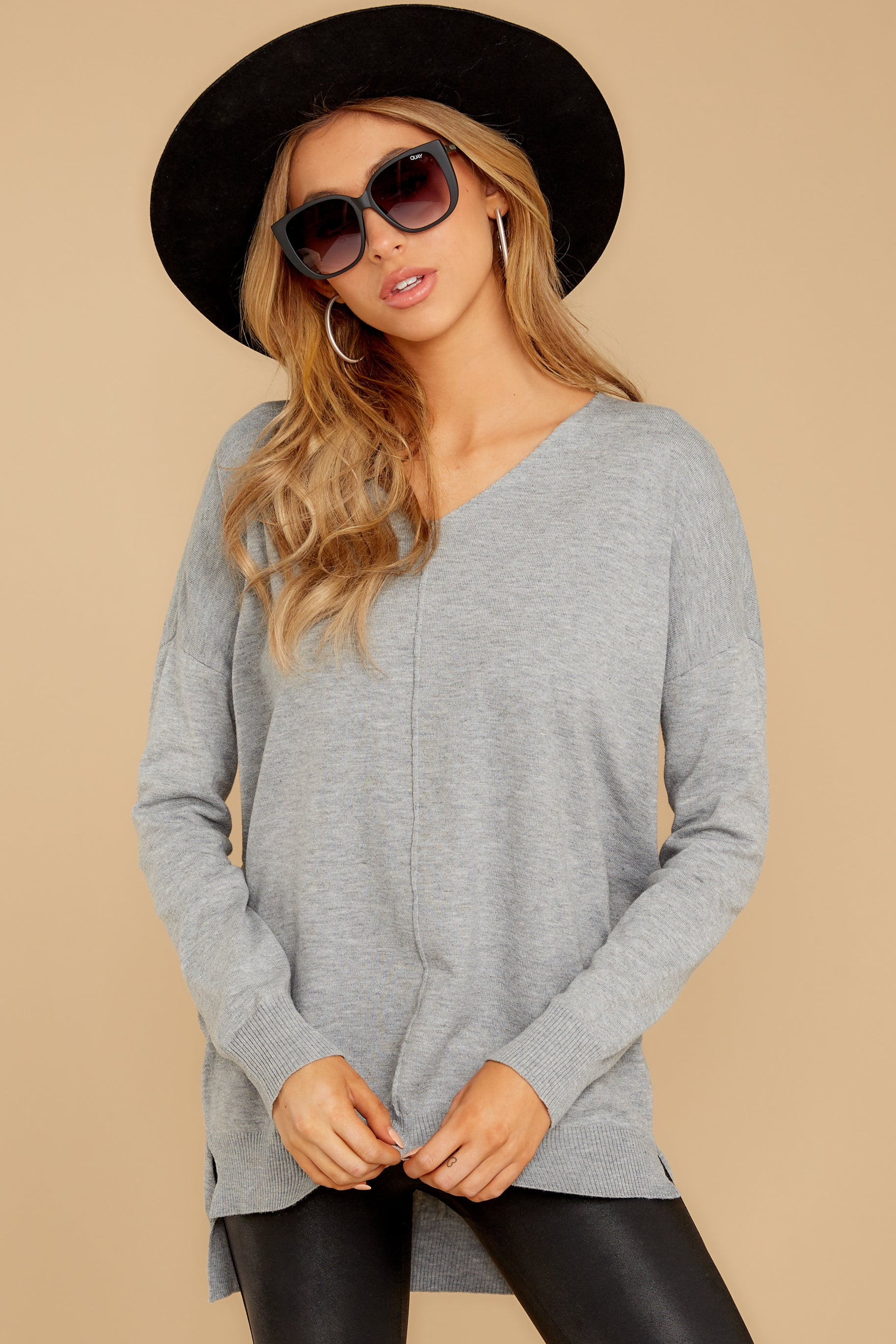 8 Keep Things Simple Heather Grey Sweater at reddressboutique.com