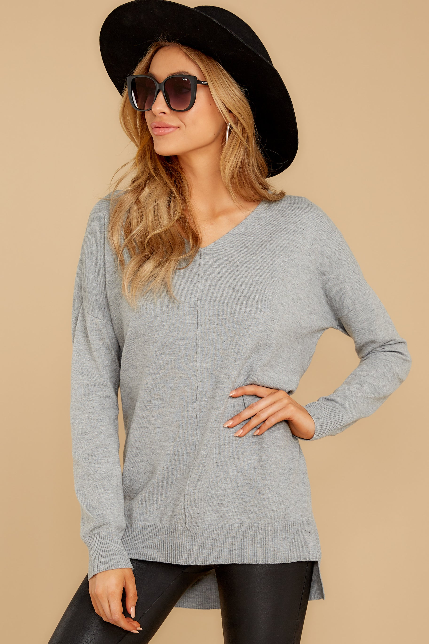 10 Keep Things Simple Heather Grey Sweater at reddressboutique.com