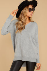 11 Keep Things Simple Heather Grey Sweater at reddressboutique.com