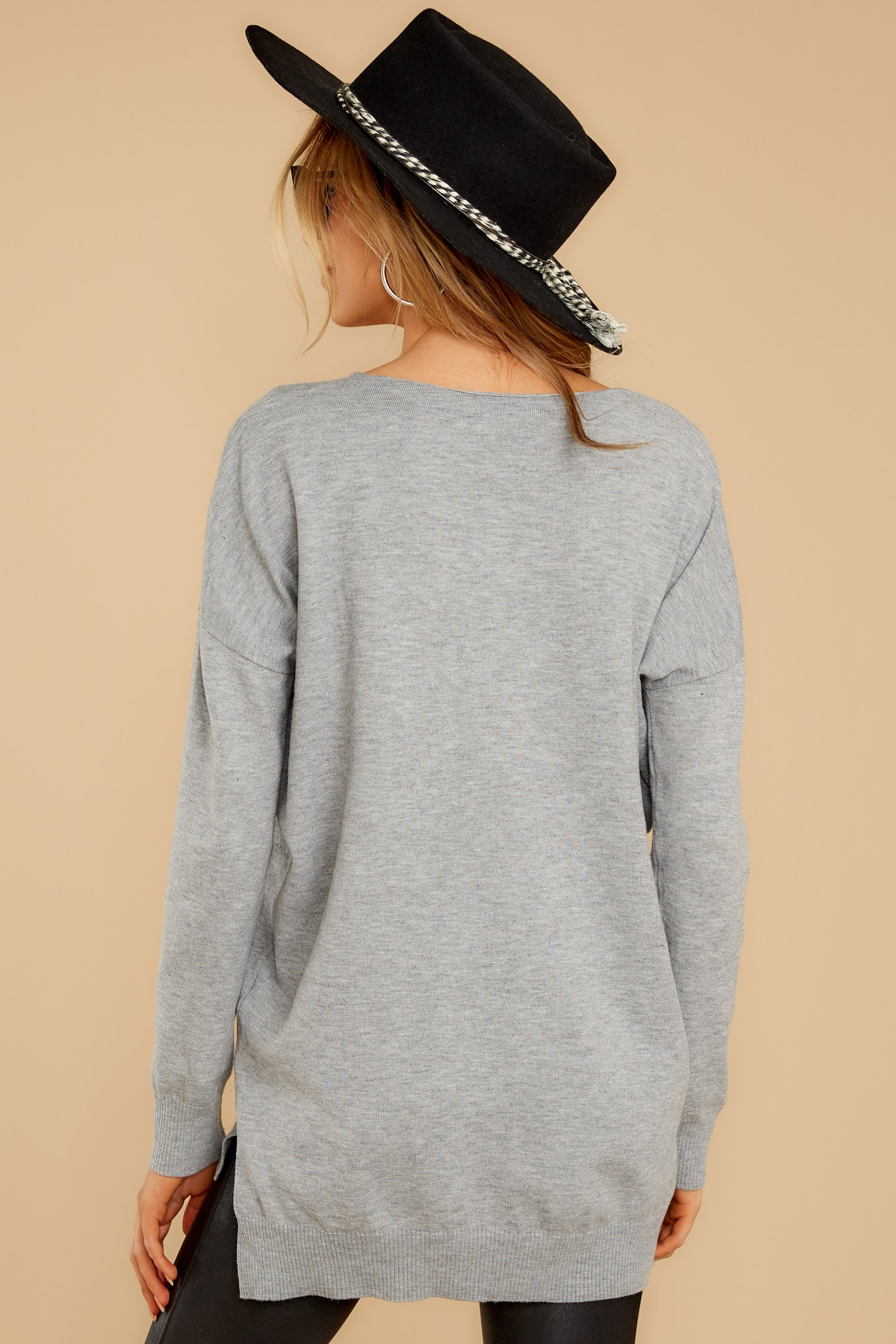 12 Keep Things Simple Heather Grey Sweater at reddressboutique.com