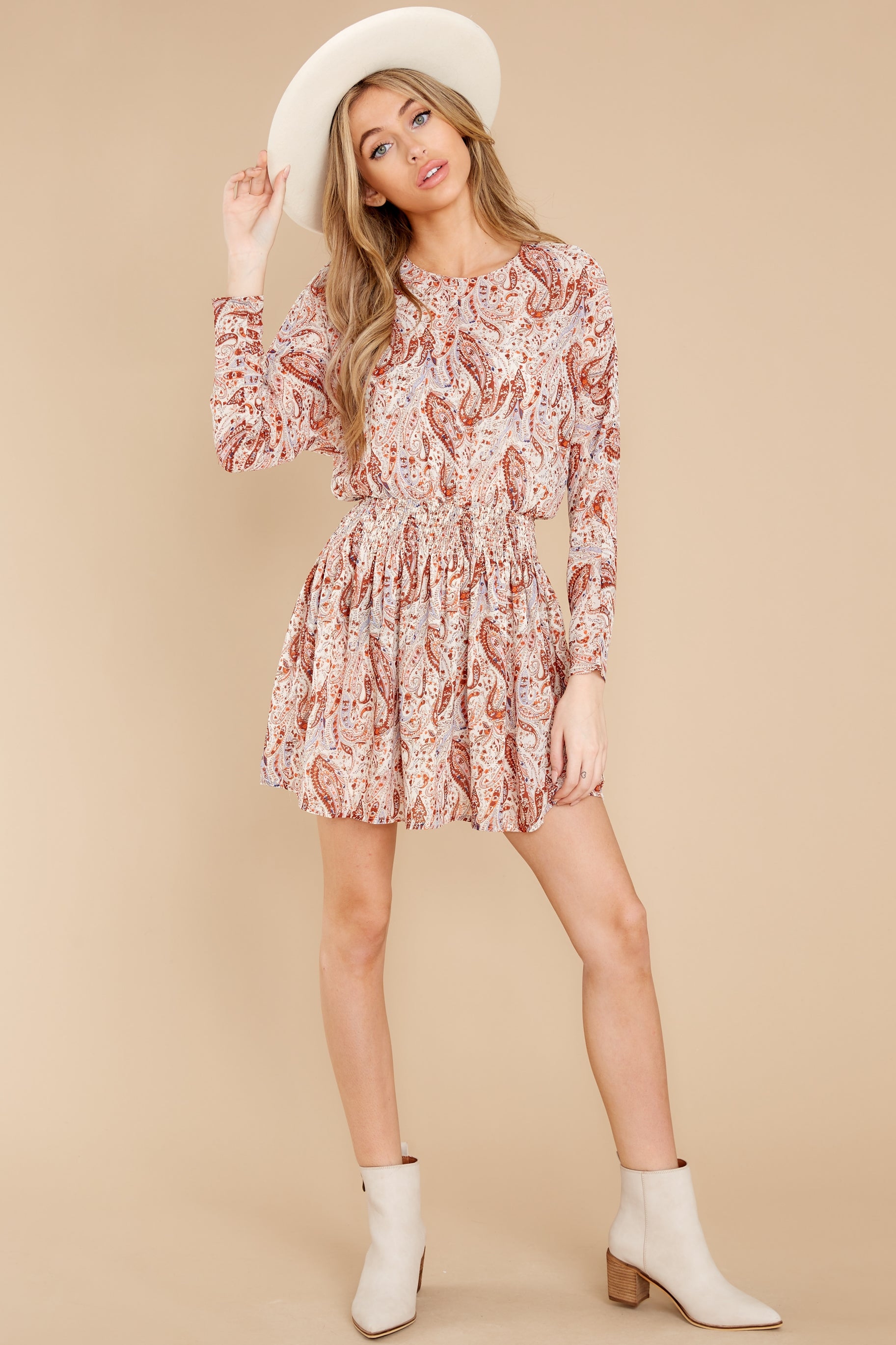 5 Woodstock Multi Paisley Mini Dress at reddress.com