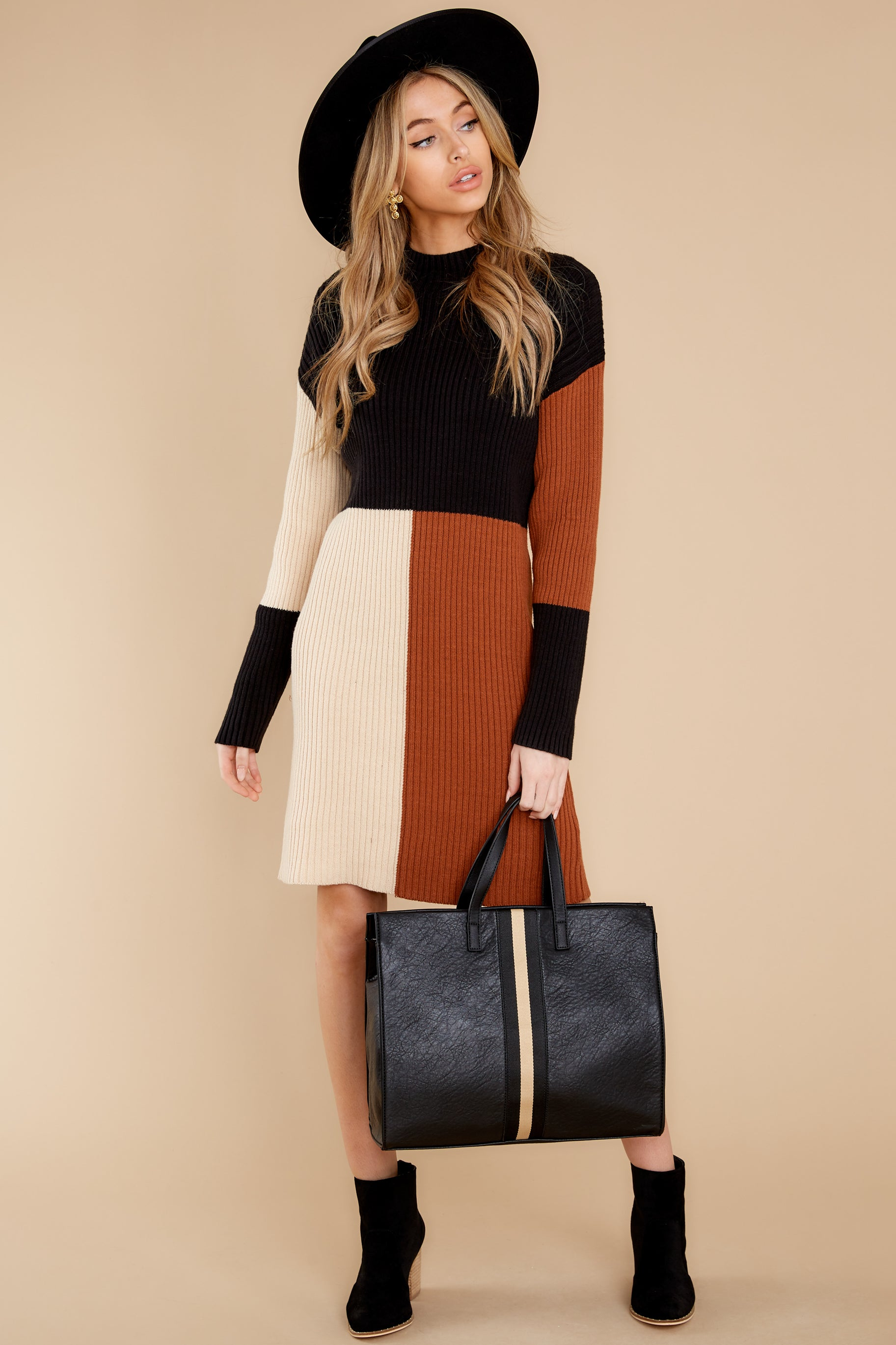 3 Around The Bend Black And Camel Sweater Dress at reddress.com
