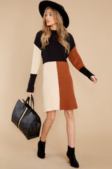 2 Around The Bend Black And Camel Sweater Dress at reddress.com