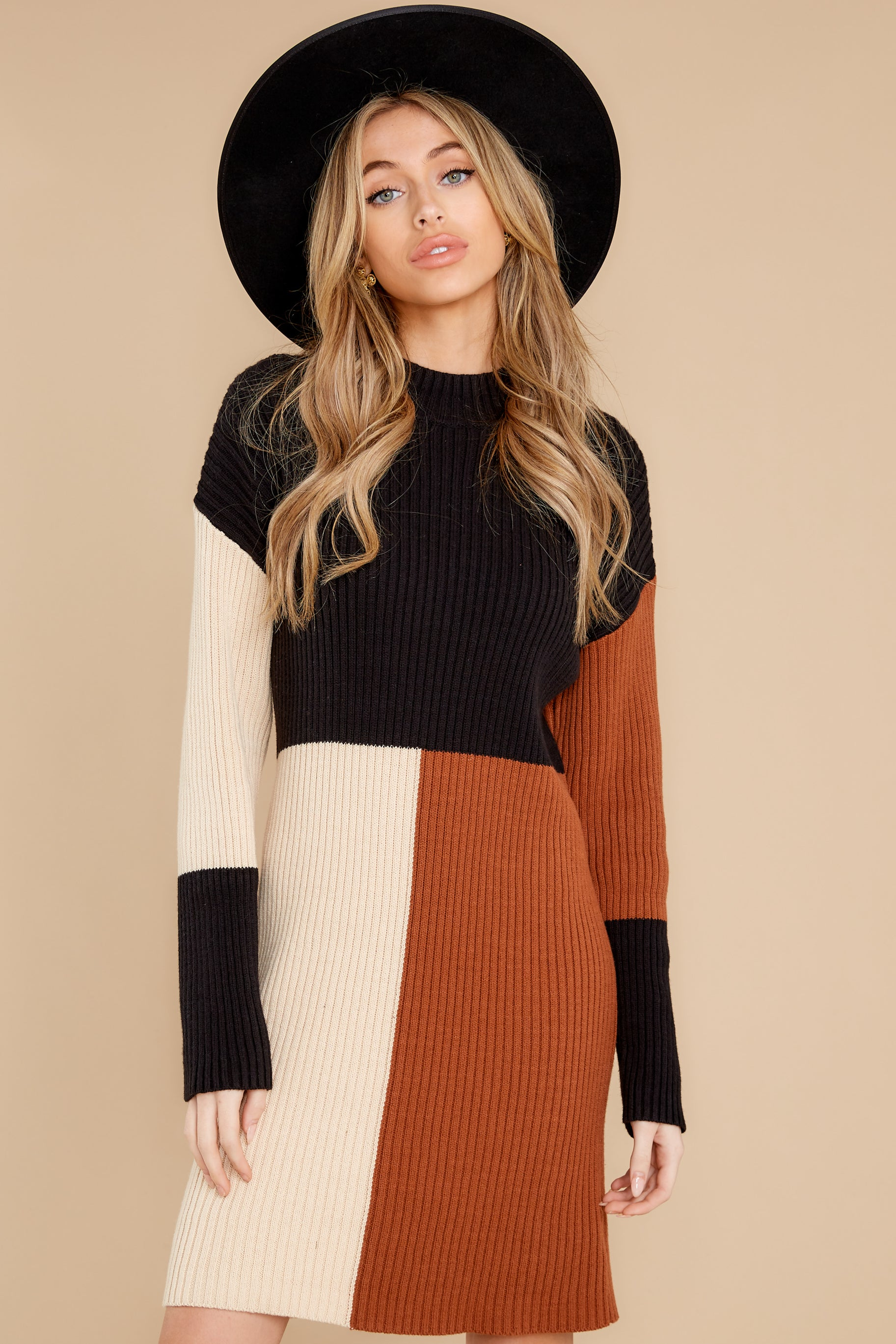 7 Around The Bend Black And Camel Sweater Dress at reddress.com