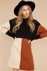 6 Around The Bend Black And Camel Sweater Dress at reddress.com