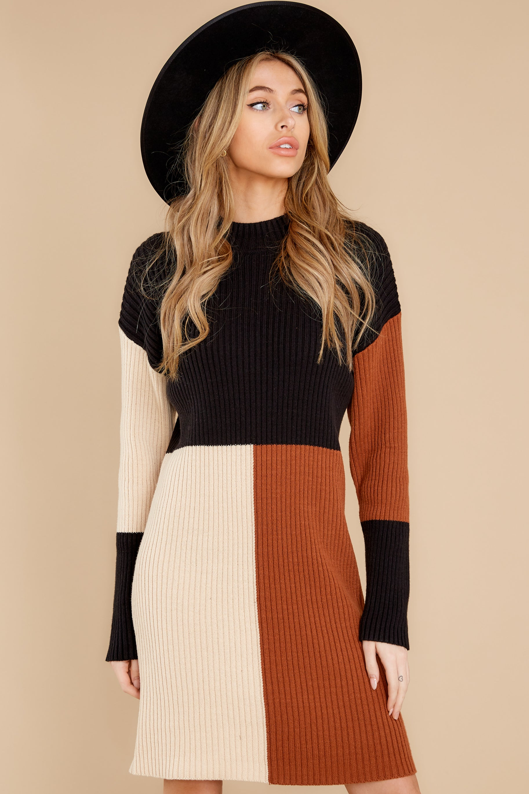 5 Around The Bend Black And Camel Sweater Dress at reddress.com