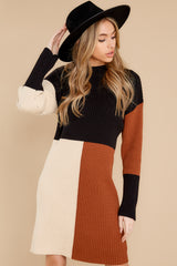 4 Around The Bend Black And Camel Sweater Dress at reddress.com