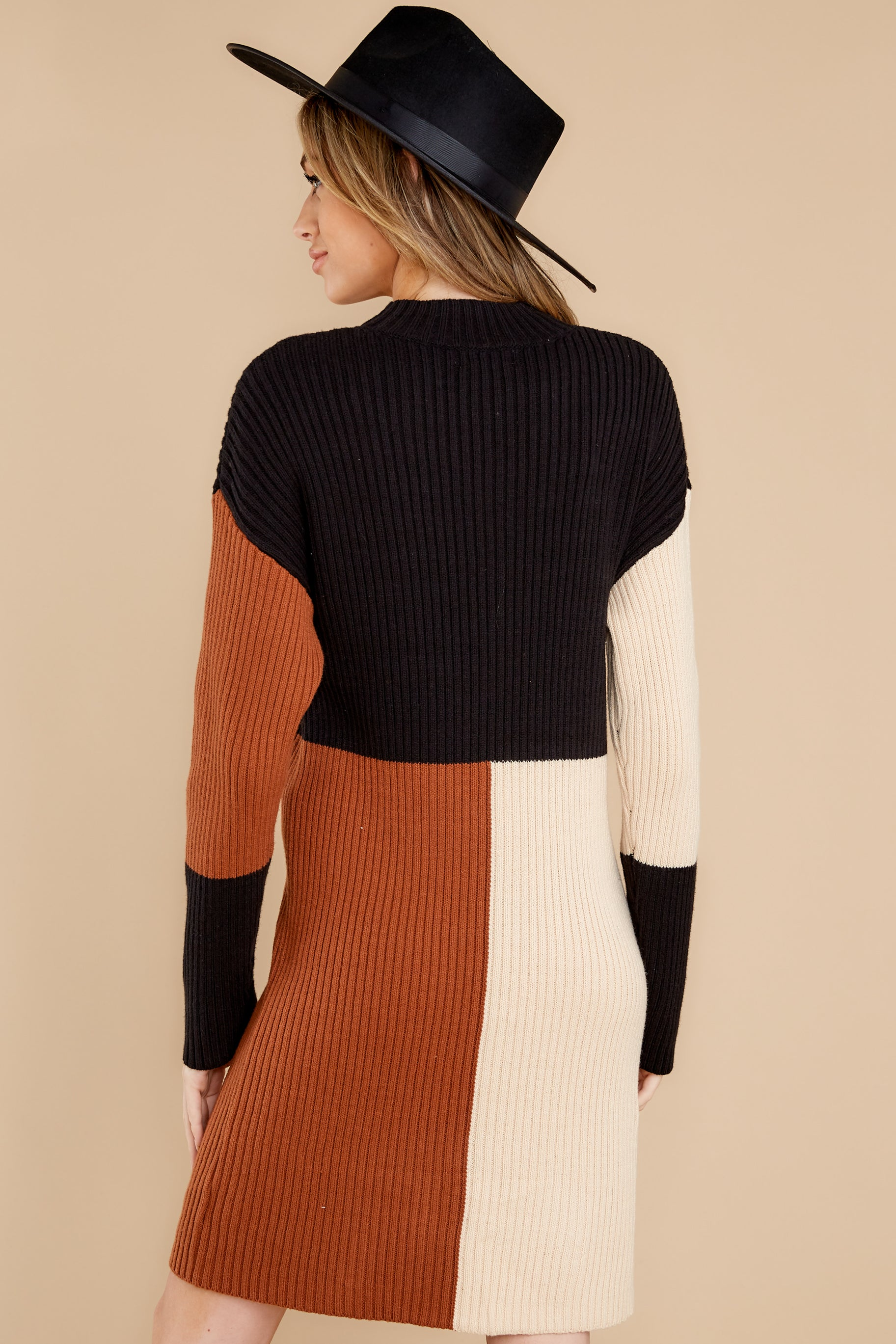 8 Around The Bend Black And Camel Sweater Dress at reddress.com