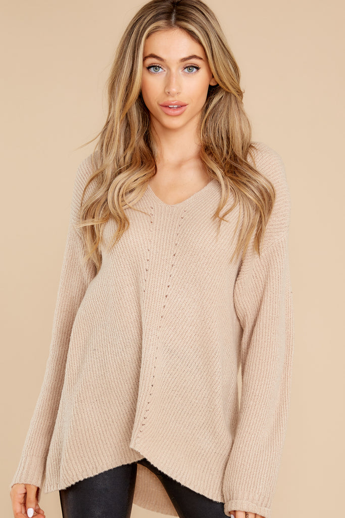 1 On Repeat Beige Sweater at reddress.com