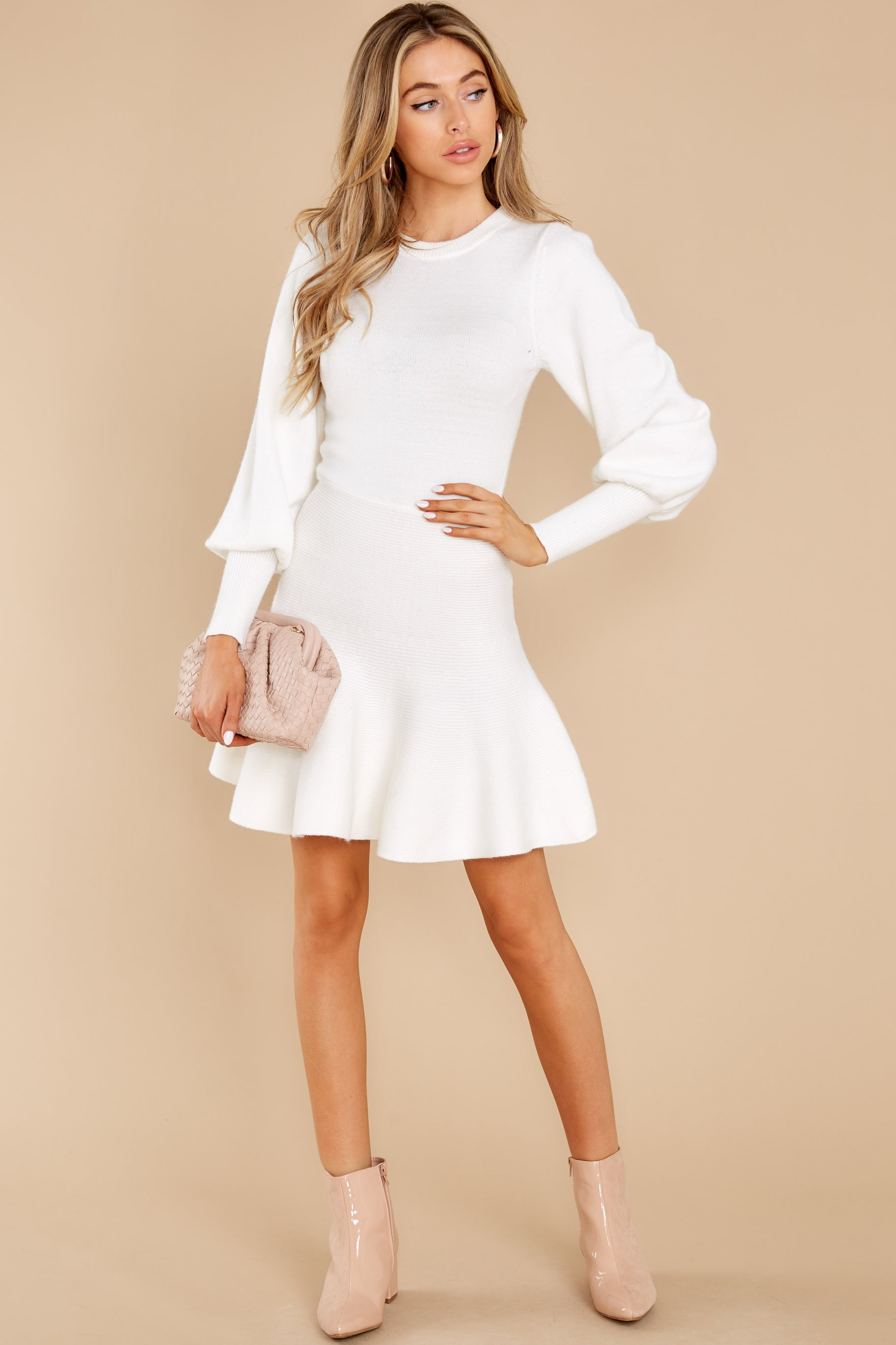 2 Into Me Into You White Sweater Dress at reddress.com