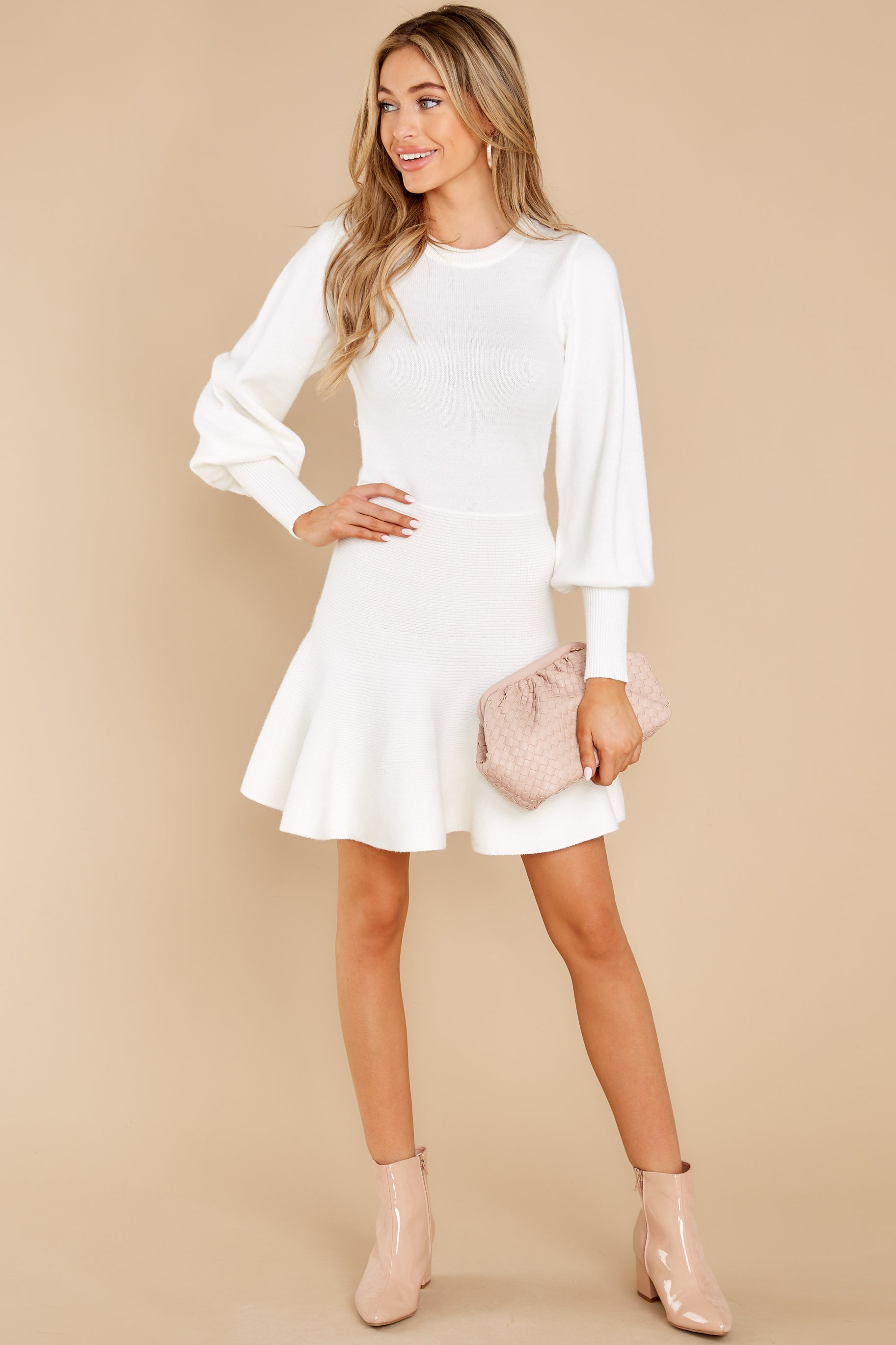4 Into Me Into You White Sweater Dress at reddress.com