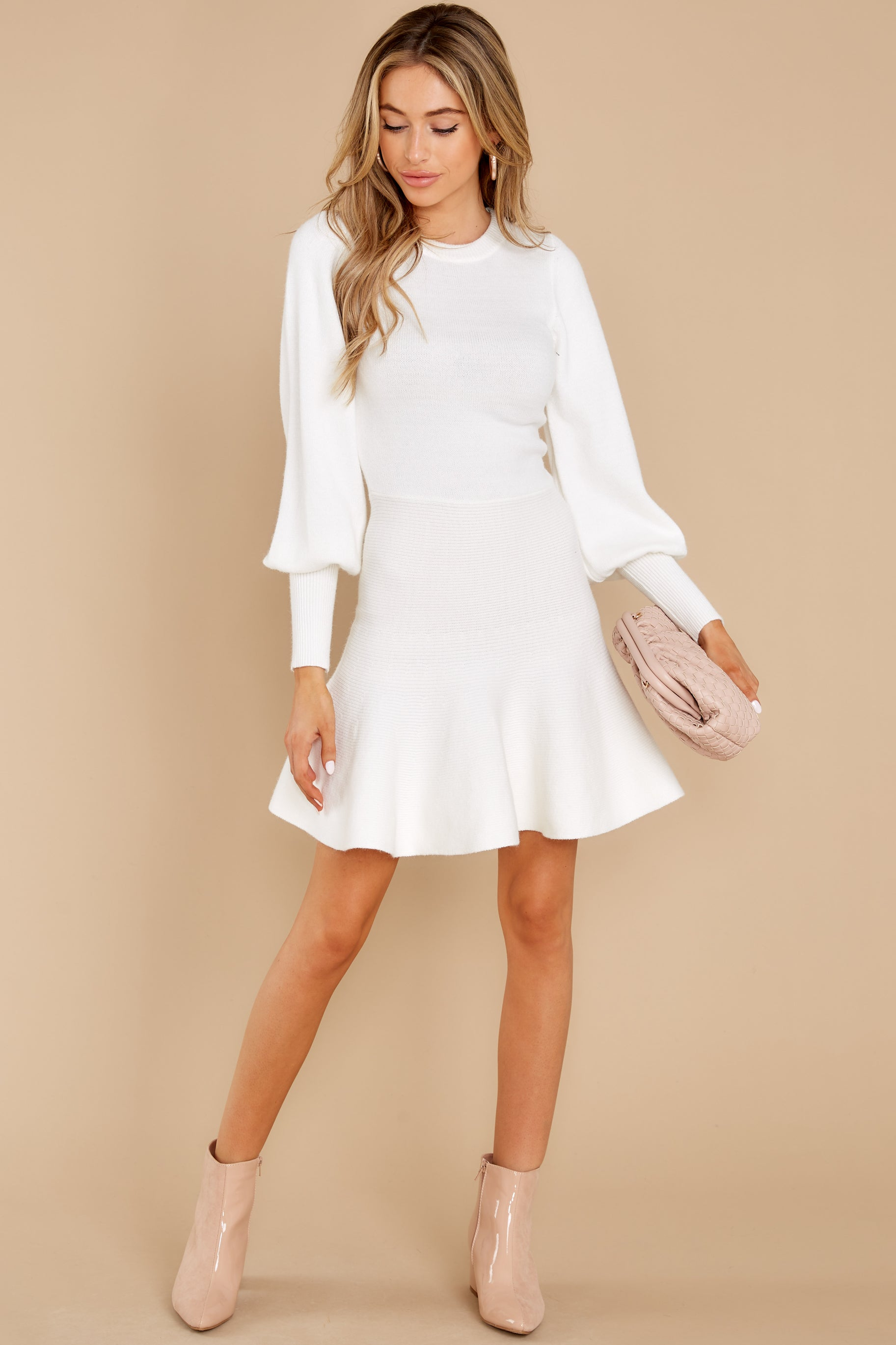 3 Into Me Into You White Sweater Dress at reddress.com