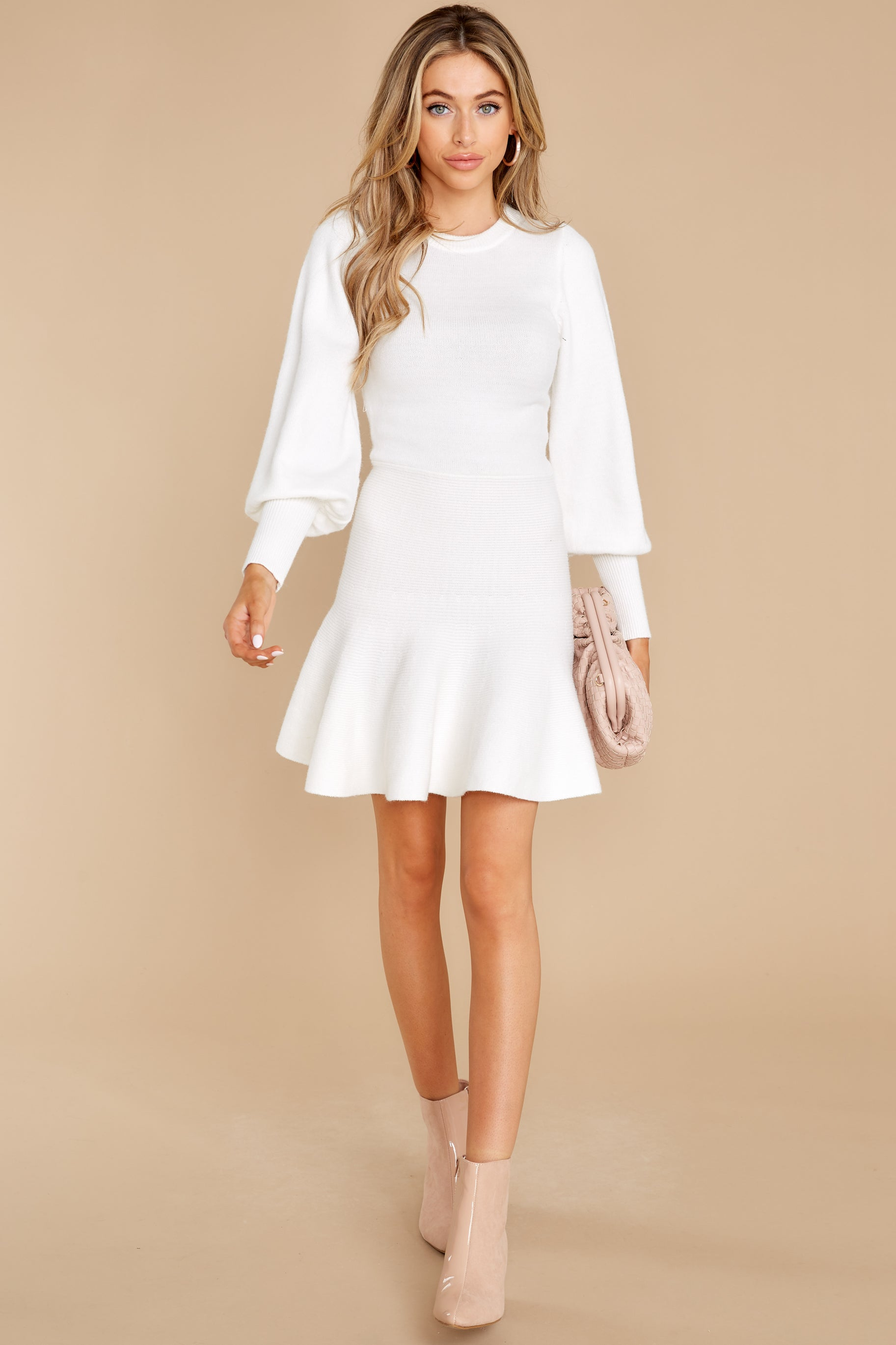 1 Into Me Into You White Sweater Dress at reddress.com