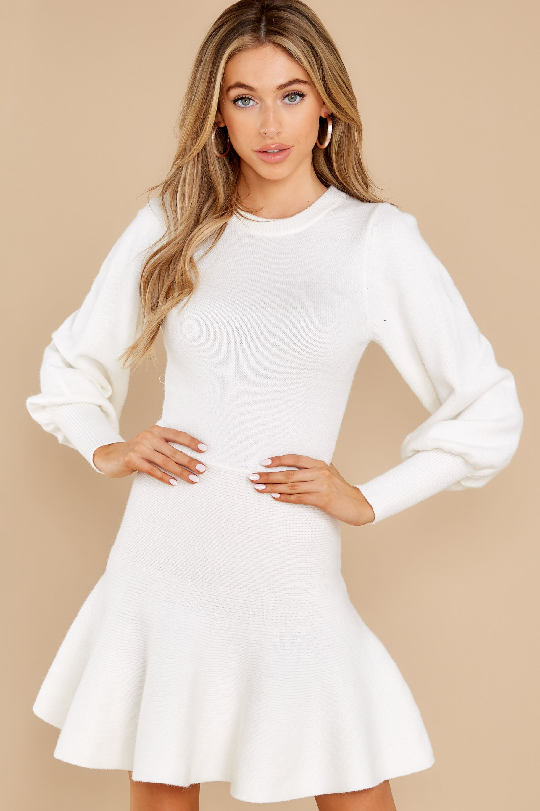 5 Into Me Into You White Sweater Dress at reddress.com