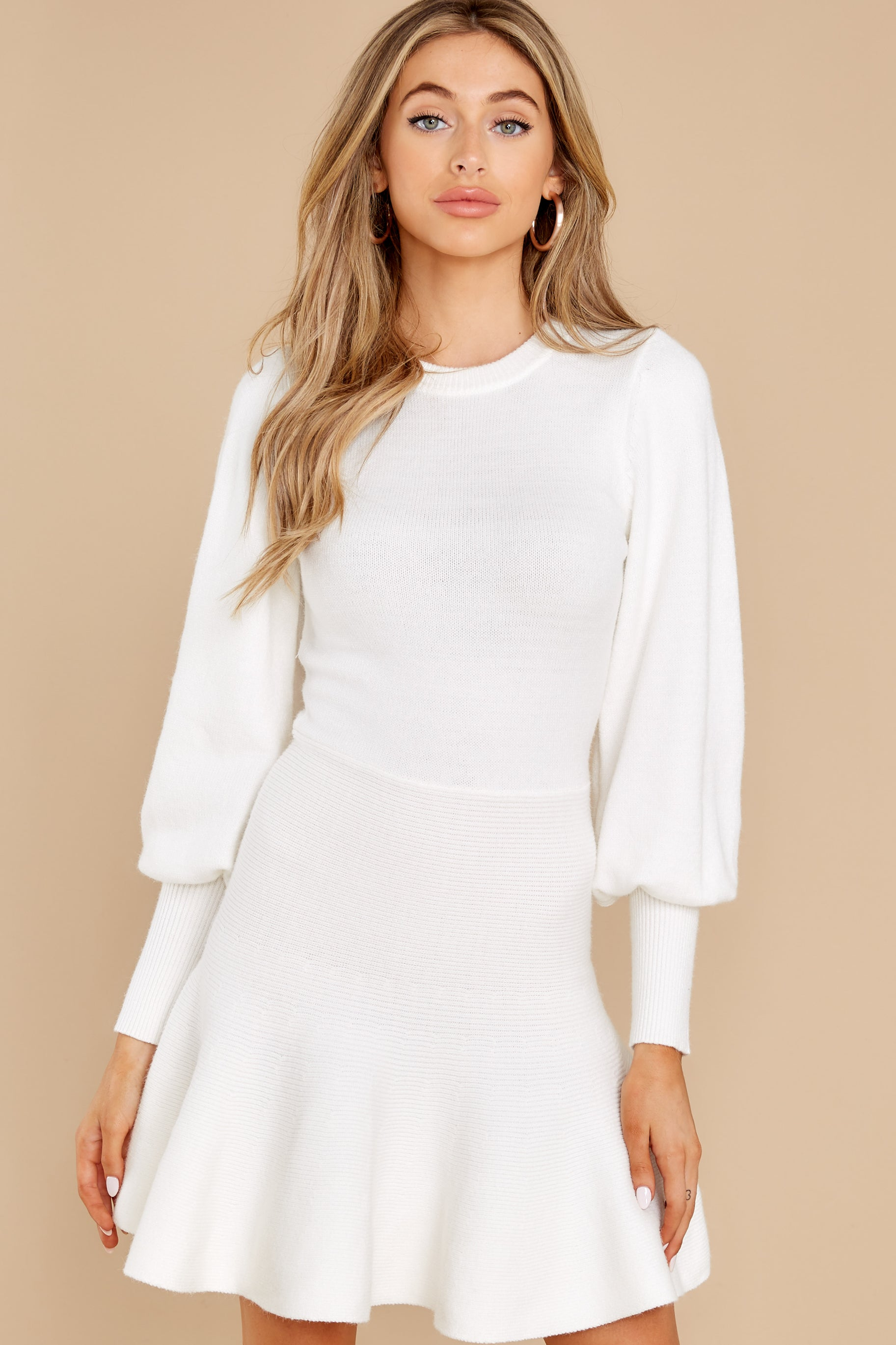 6 Into Me Into You White Sweater Dress at reddress.com