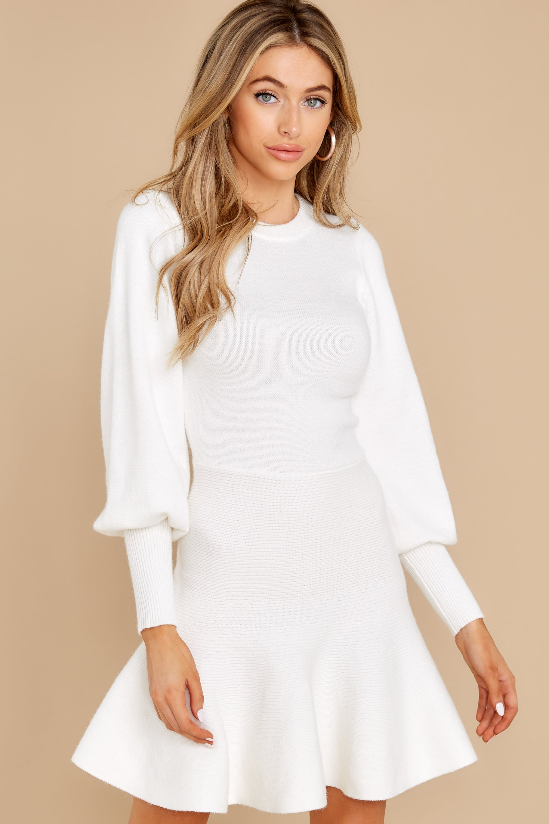 7 Into Me Into You White Sweater Dress at reddress.com