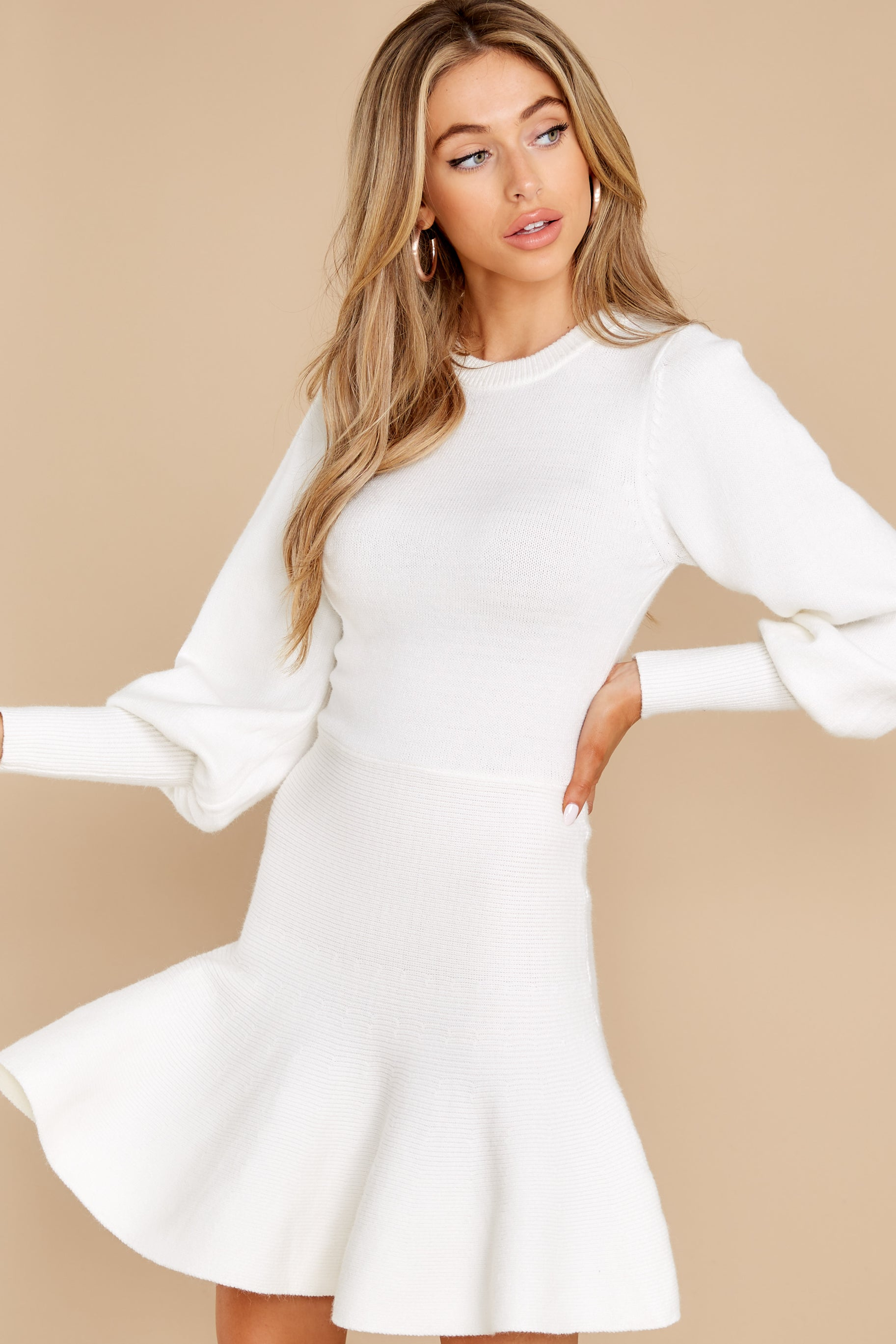 8 Into Me Into You White Sweater Dress at reddress.com