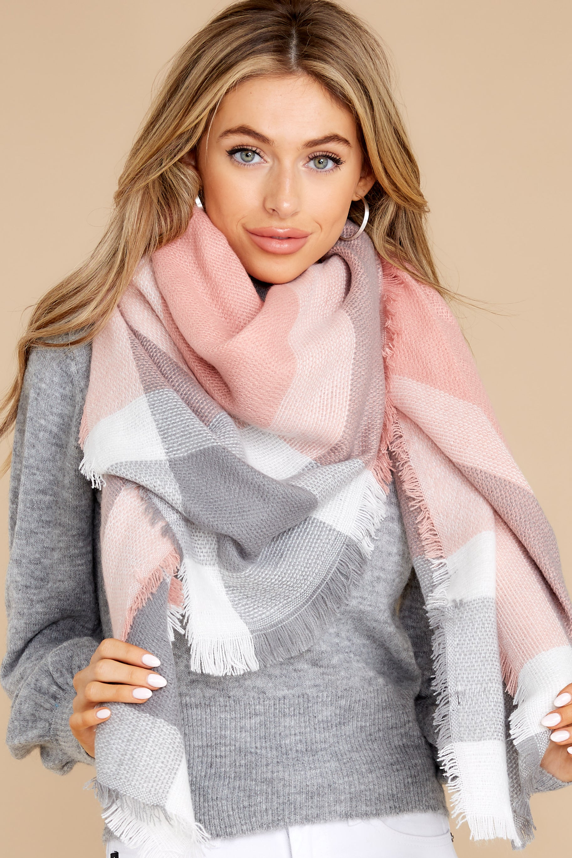 1 Chilled For The Day Grey and Pink Multi Plaid Scarf at reddress.com