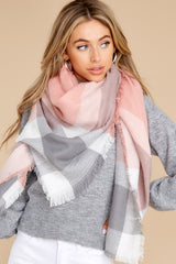2 Chilled For The Day Grey and Pink Multi Plaid Scarf at reddress.com