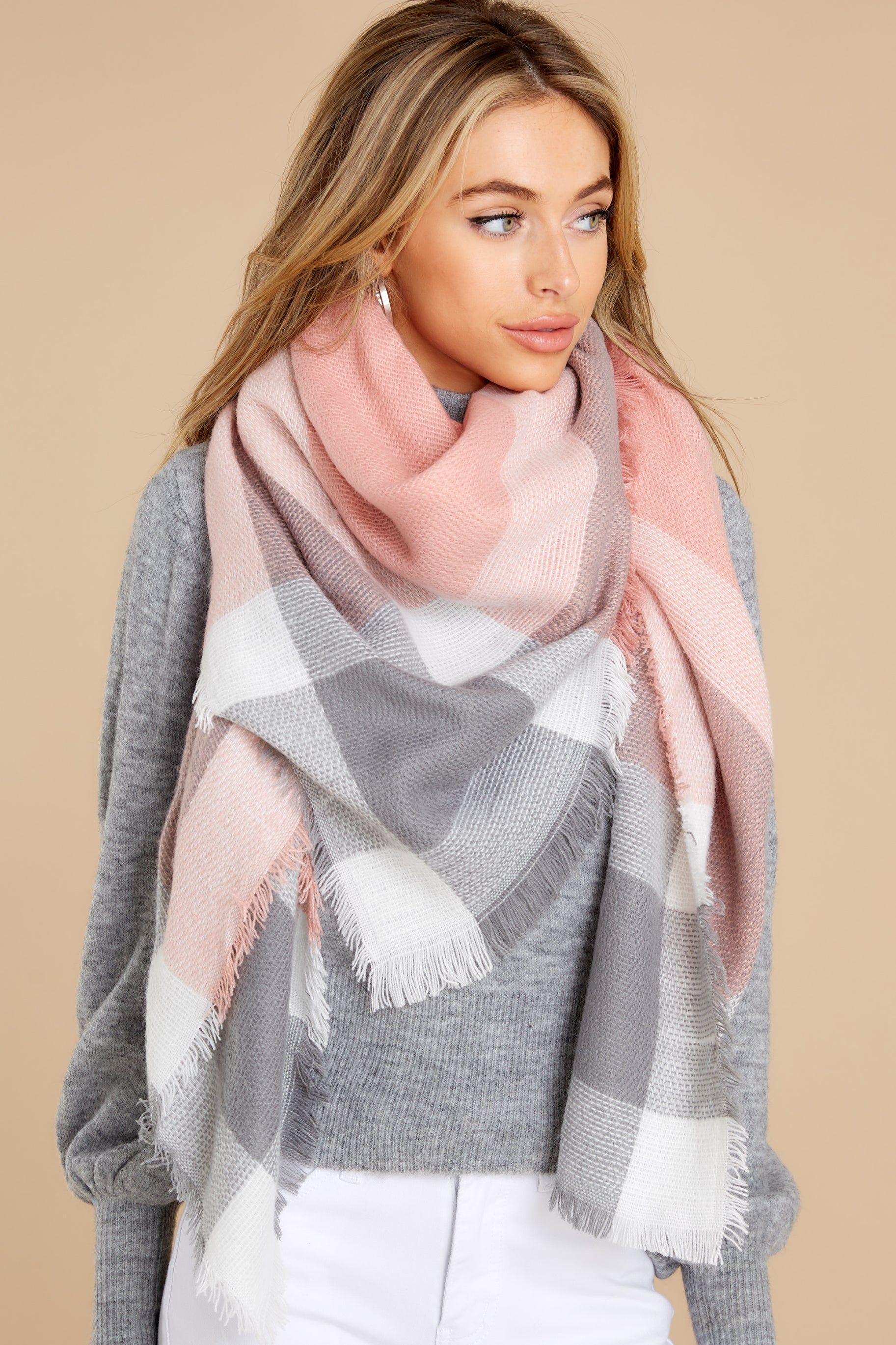 3 Chilled For The Day Grey and Pink Multi Plaid Scarf at reddress.com
